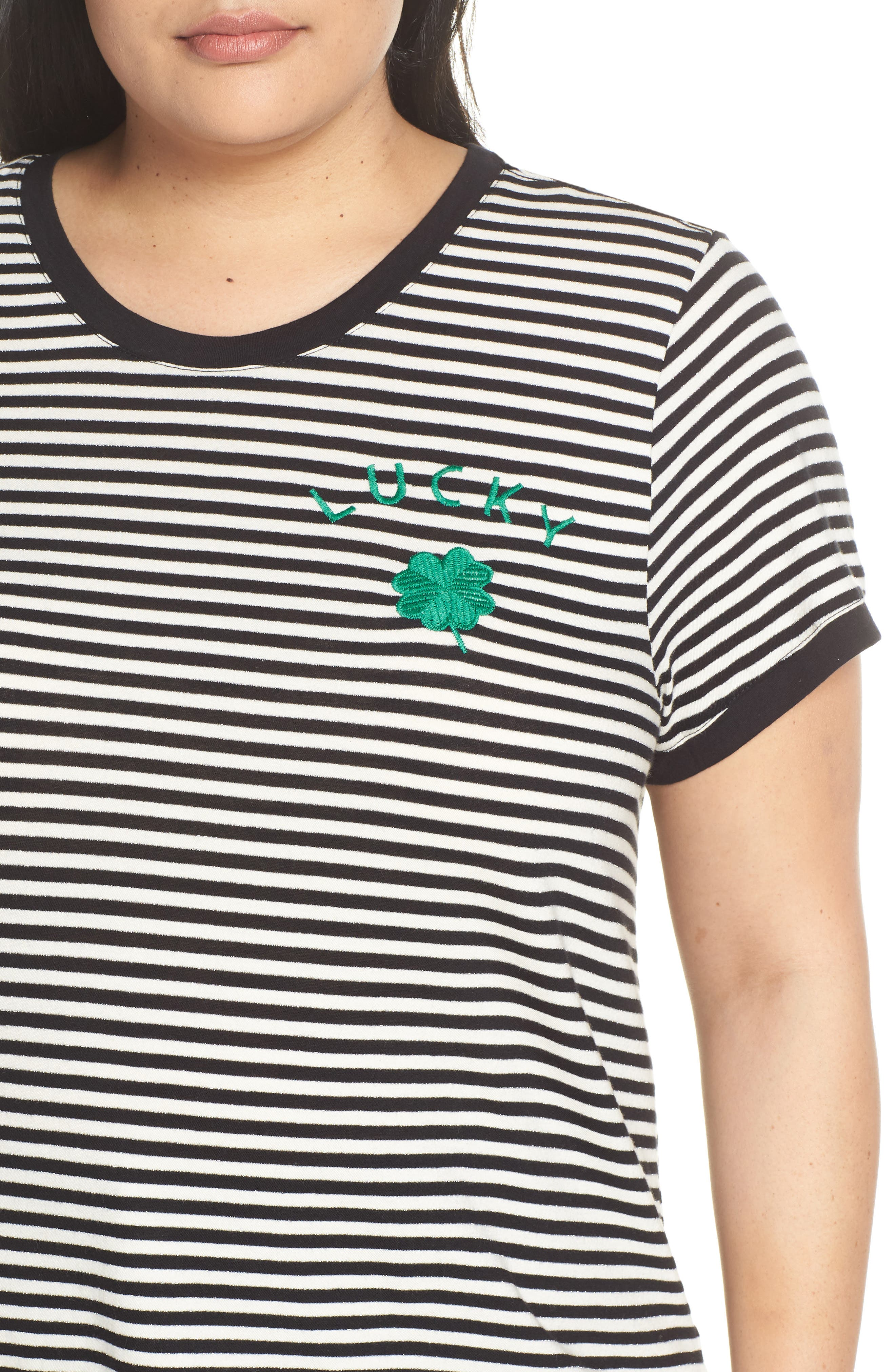 Embroidered Clover Stripe Tee,                             Alternate thumbnail 4, color,                             BLACK STRIPE