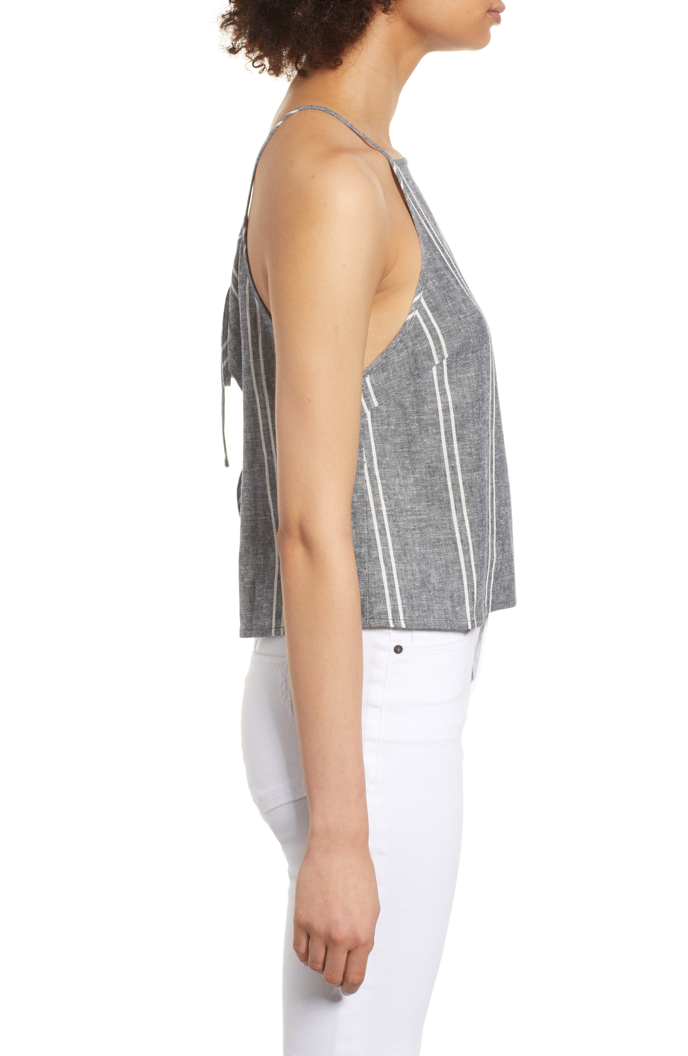 Stripe Linen Blend Tank,                             Alternate thumbnail 3, color,                             NAVY PEACOAT CHAMBRAY STRIPE