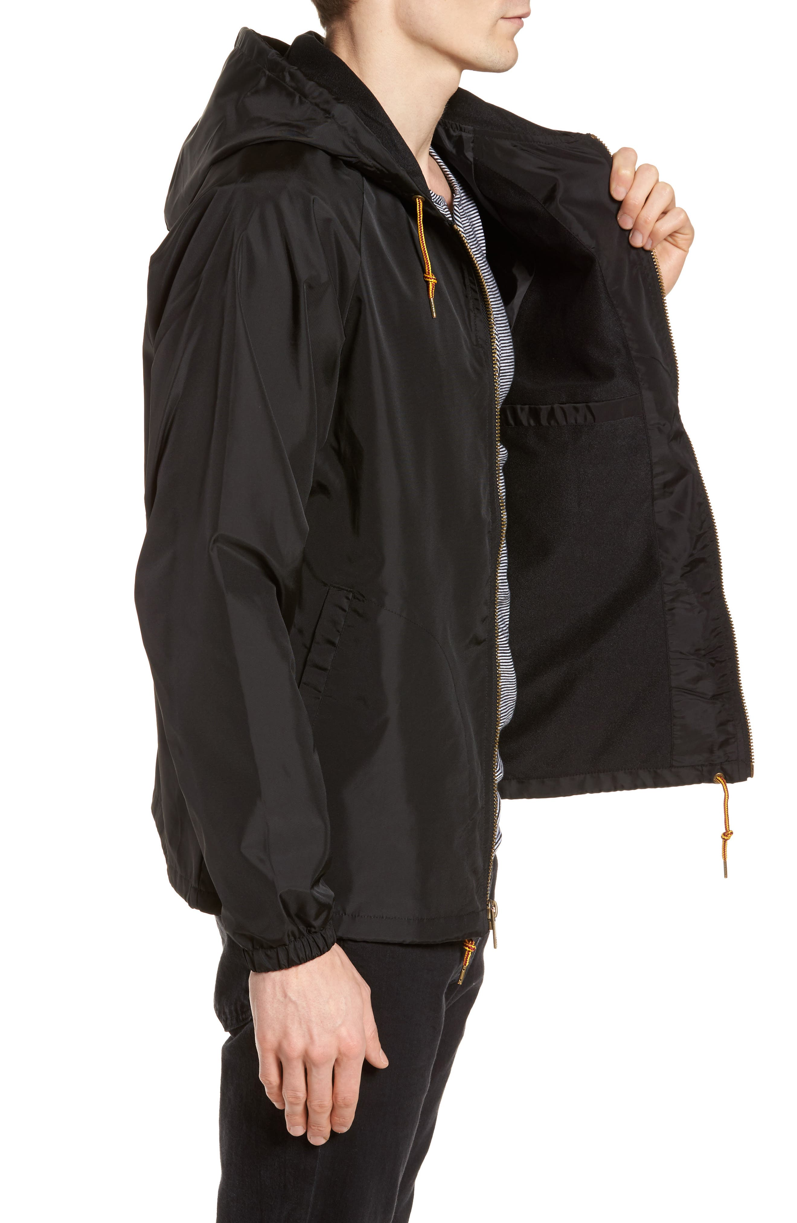 Claxton Water Repellent Hooded Windbreaker,                             Alternate thumbnail 3, color,                             001