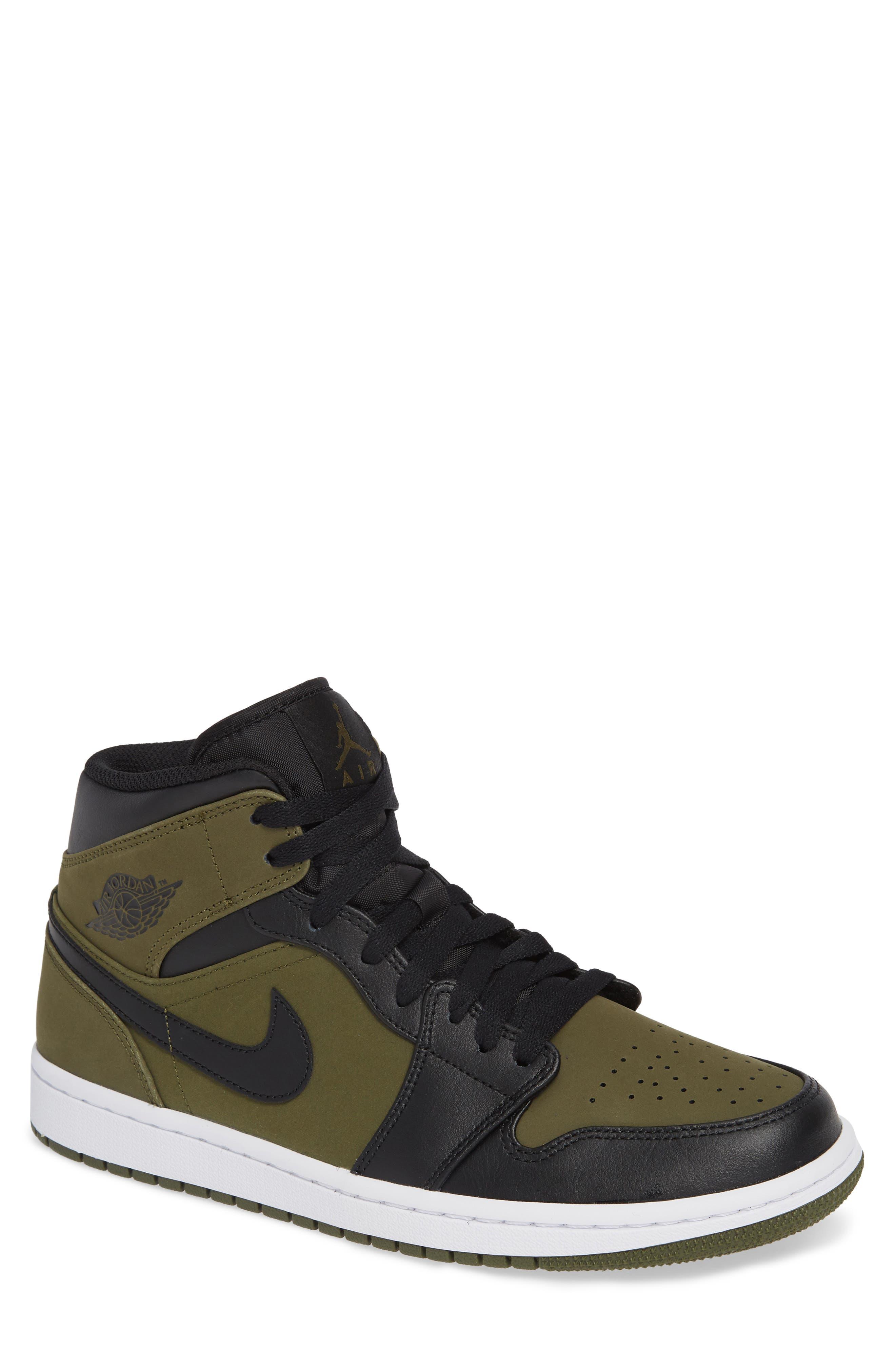 'Air Jordan 1 Mid' Sneaker,                             Main thumbnail 1, color,                             OLIVE CANVAS/ BLACK/ WHITE