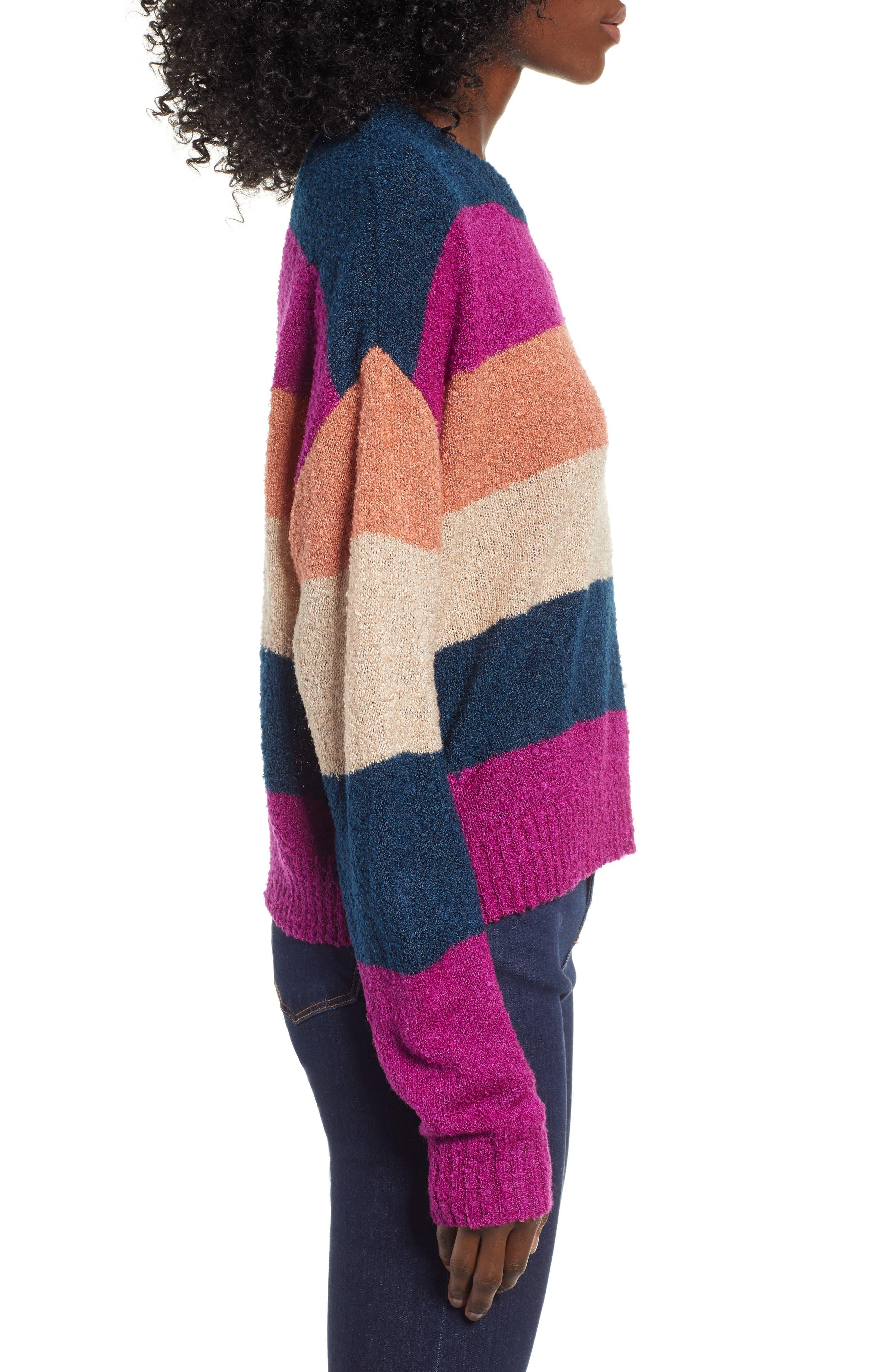 BP.,                             Stripe Bouclé Sweater,                             Alternate thumbnail 3, color,                             420