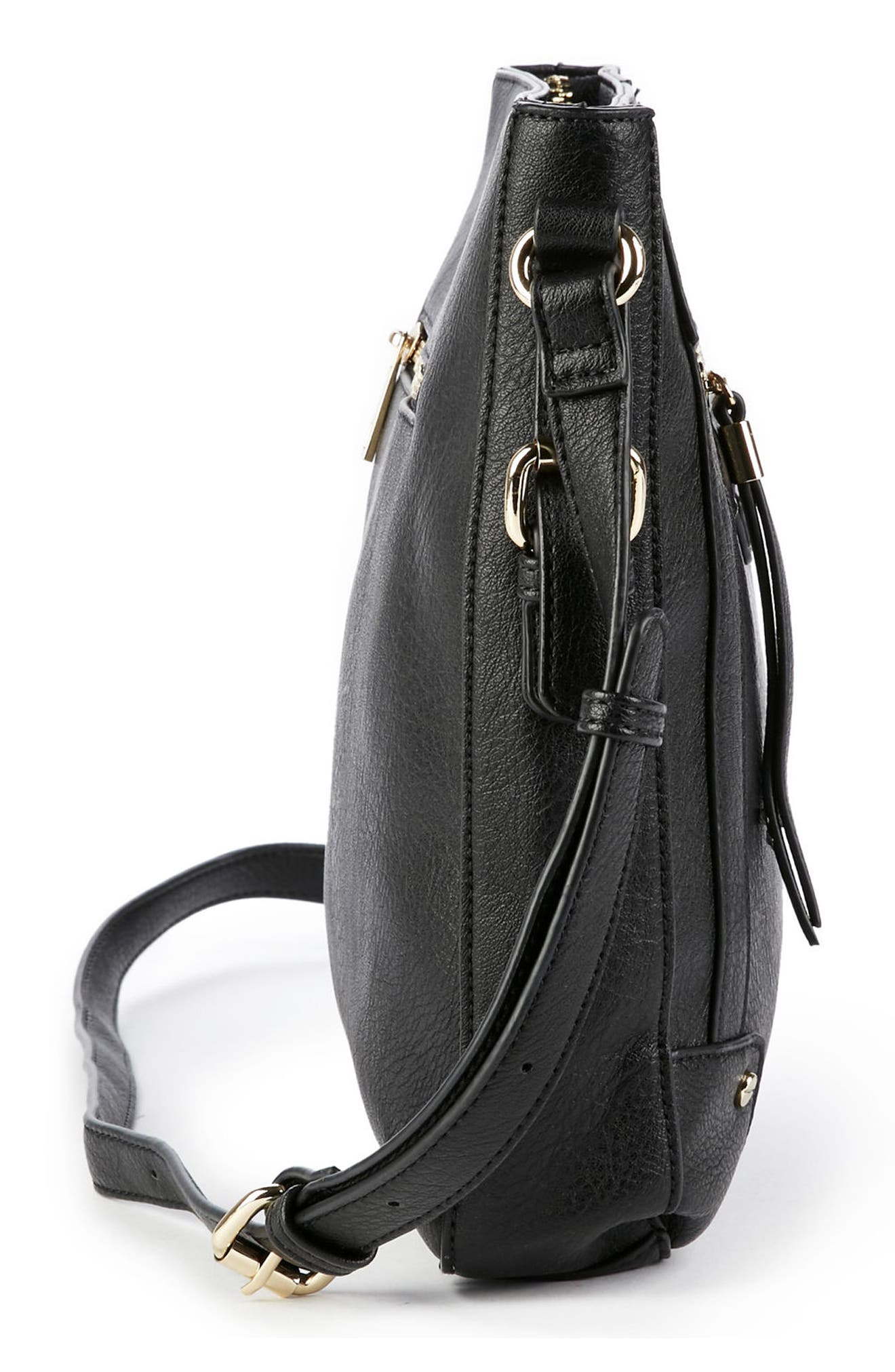 Essential Flat Faux Leather Crossbody Bag,                             Alternate thumbnail 9, color,