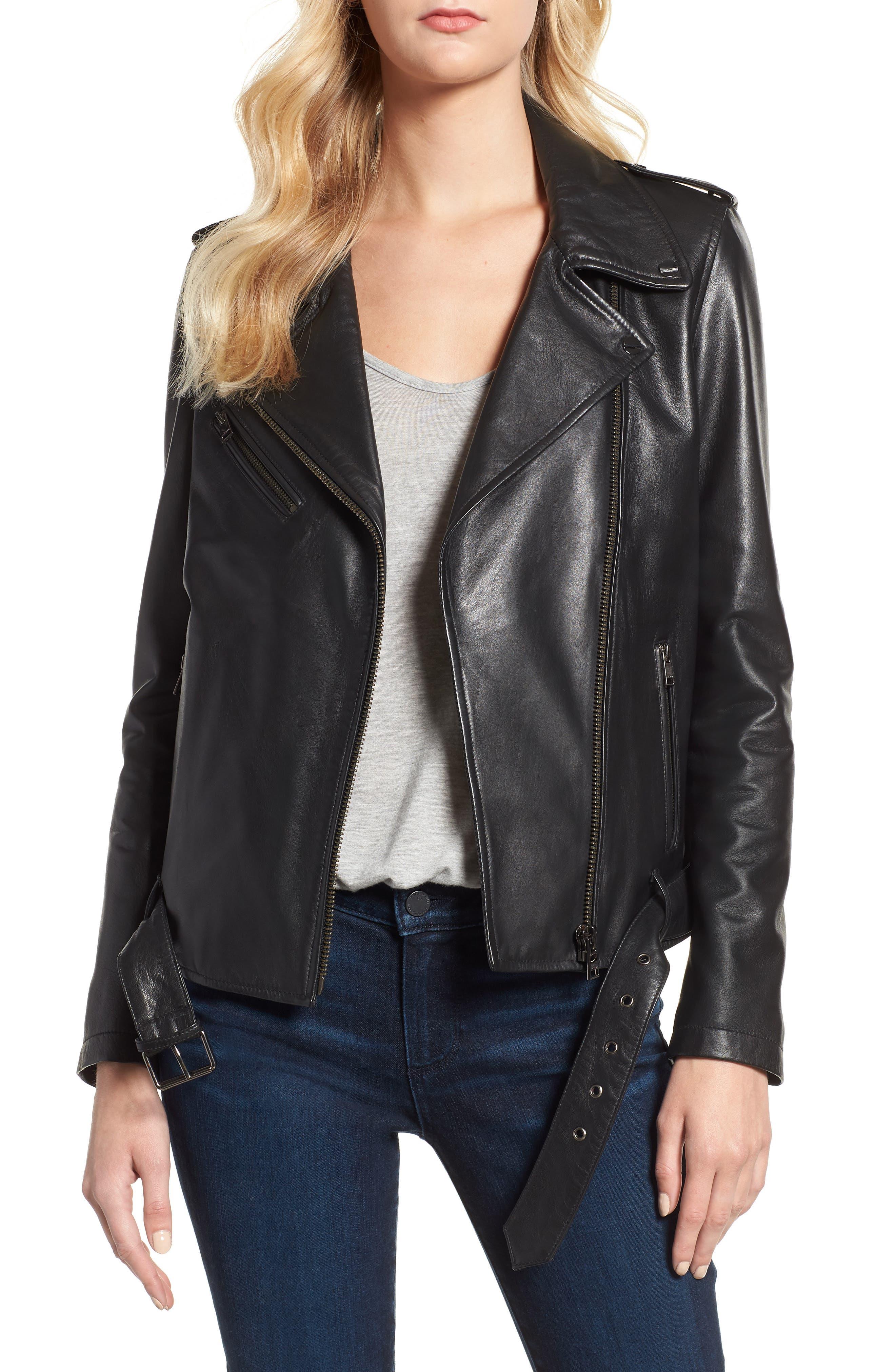 LAMARQUE Belted Leather Biker Jacket in Black