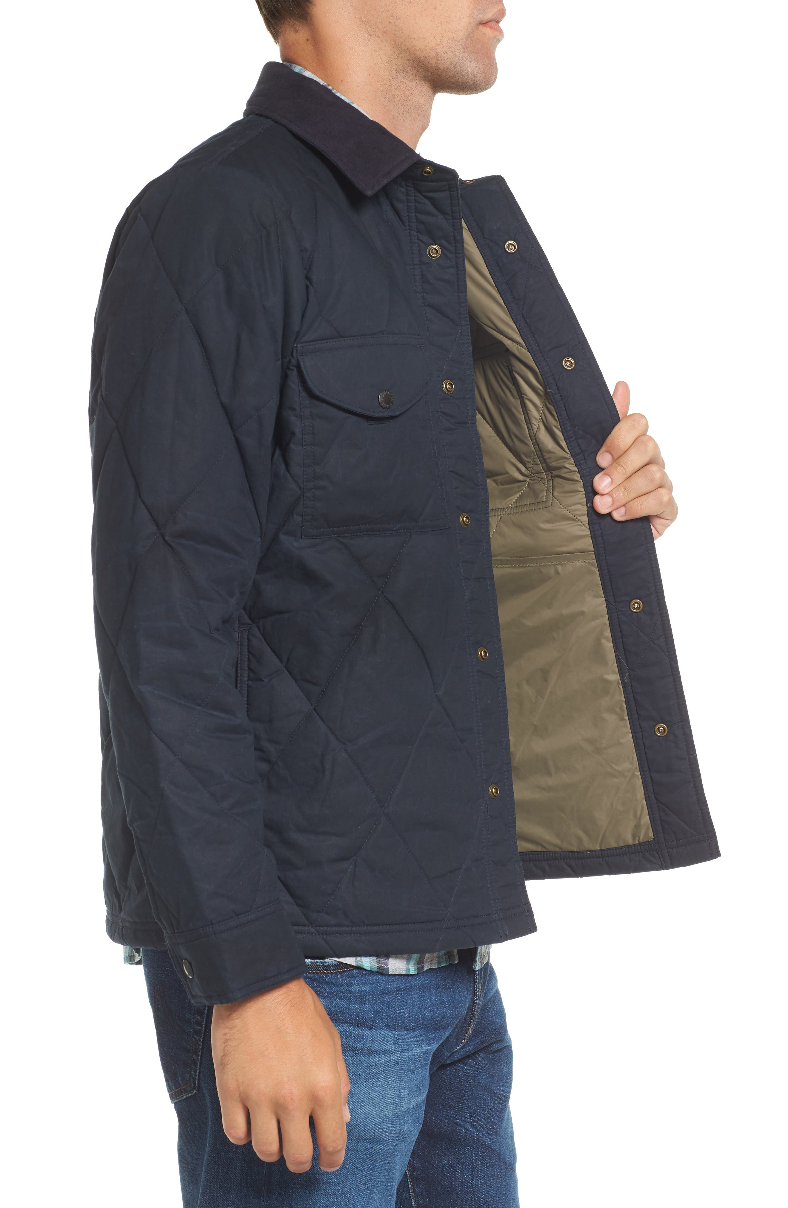 Hyder Quilted Water-Repellent Shirt Jacket,                             Alternate thumbnail 3, color,                             FADED NAVY