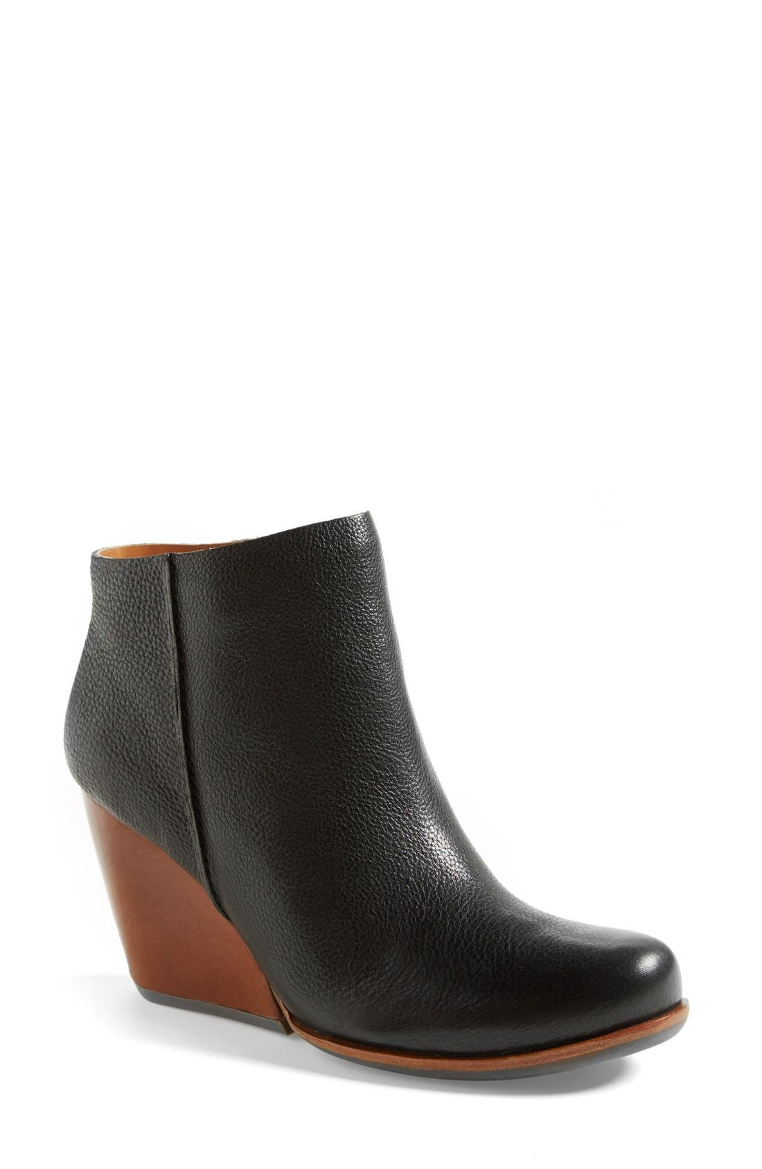 'Natalya' Burnished Leather Demi Wedge Boot,                             Main thumbnail 1, color,                             001