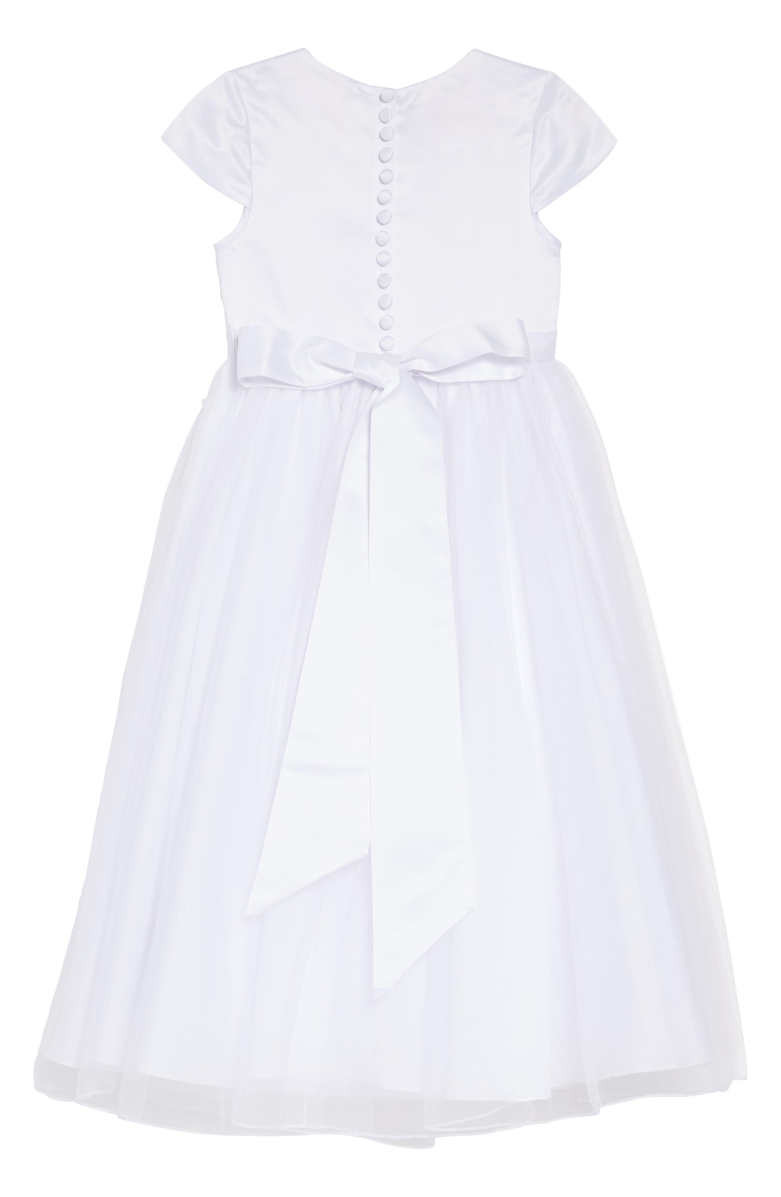 LAUREN MARIE,                             Beaded Lace First Communion Dress,                             Alternate thumbnail 4, color,                             WHITE