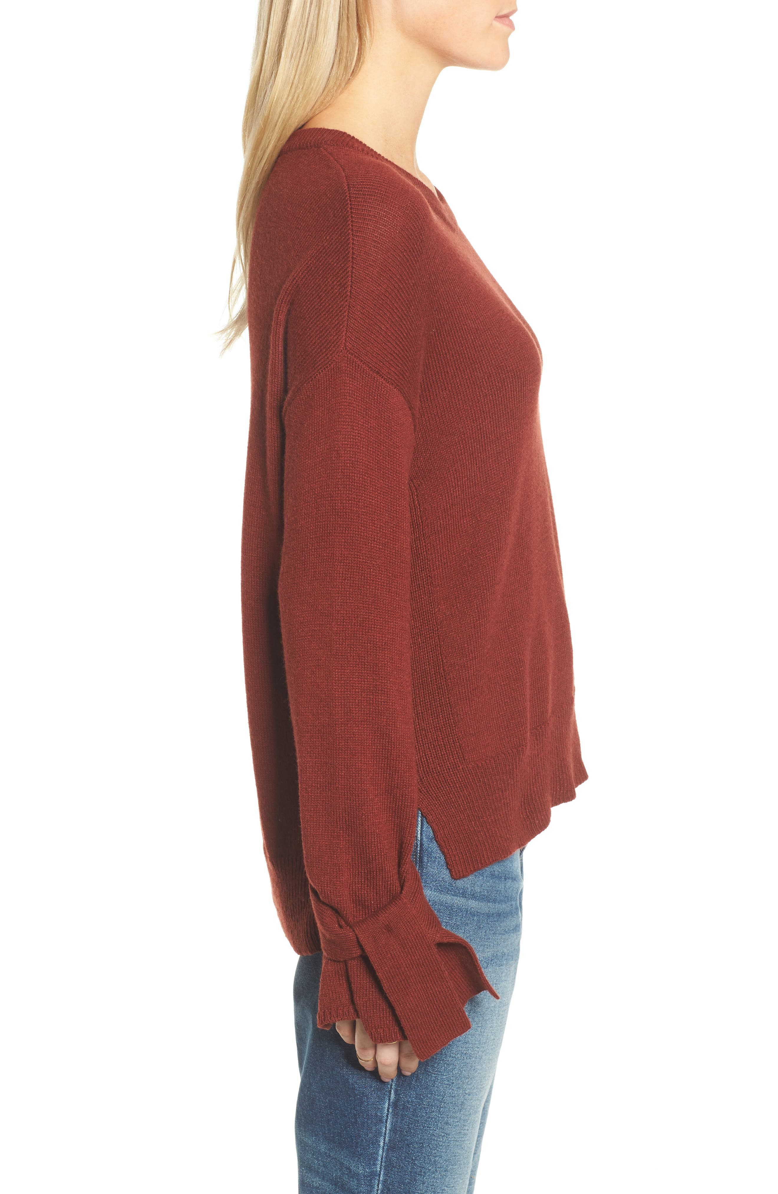 Tie Cuff Pullover Sweater,                             Alternate thumbnail 10, color,