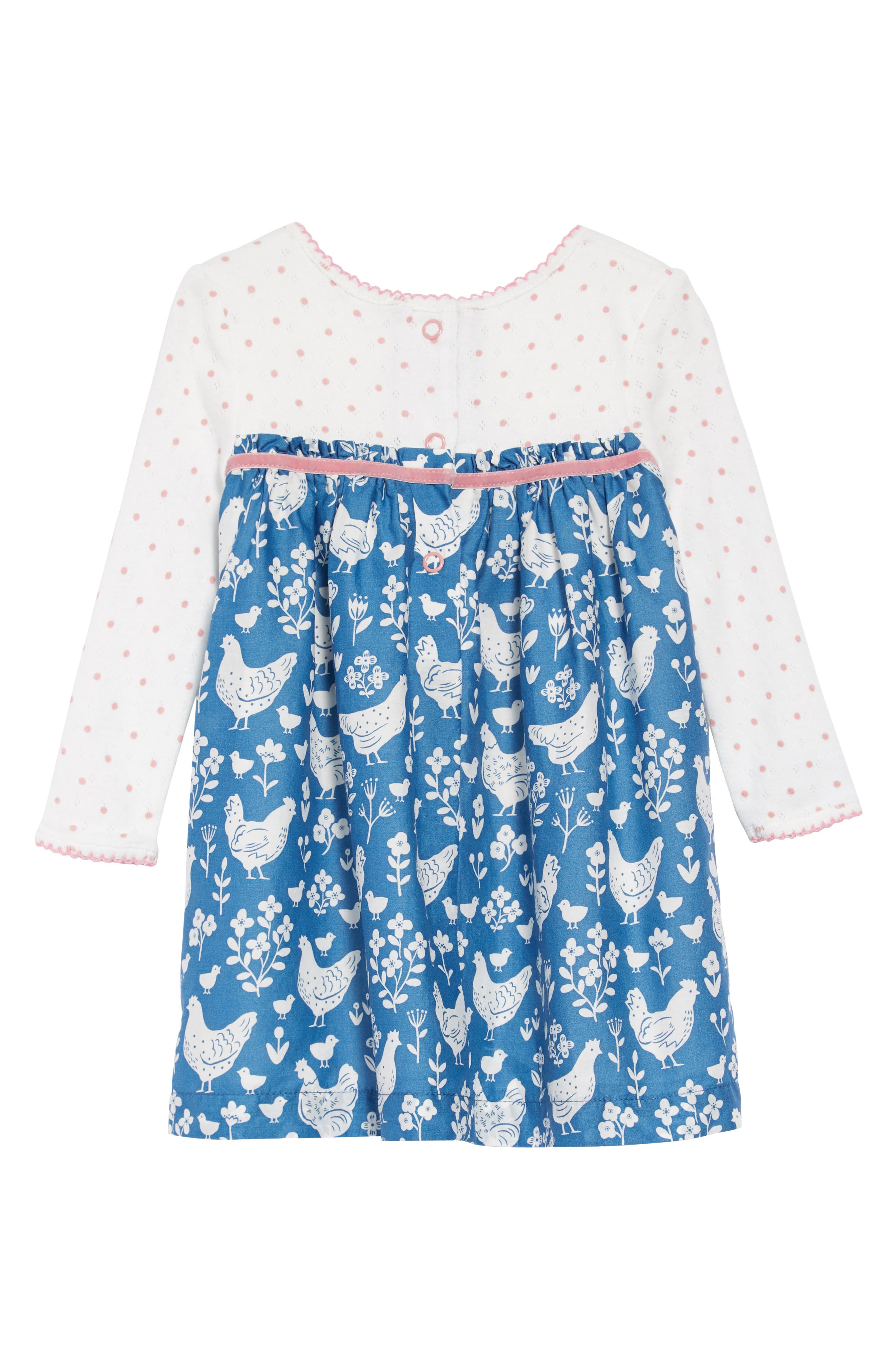Pointelle & Woven Dress,                             Alternate thumbnail 2, color,                             AZURE/ FARMYARD/ TOILE