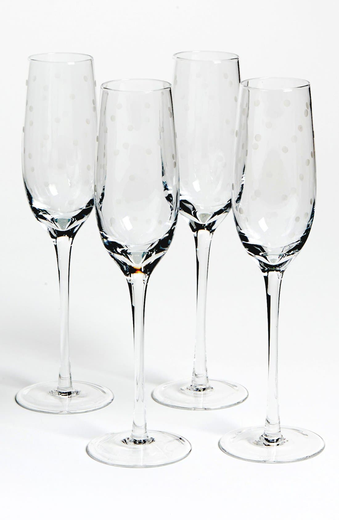 'larabee dot' champagne flutes,                             Main thumbnail 1, color,                             000