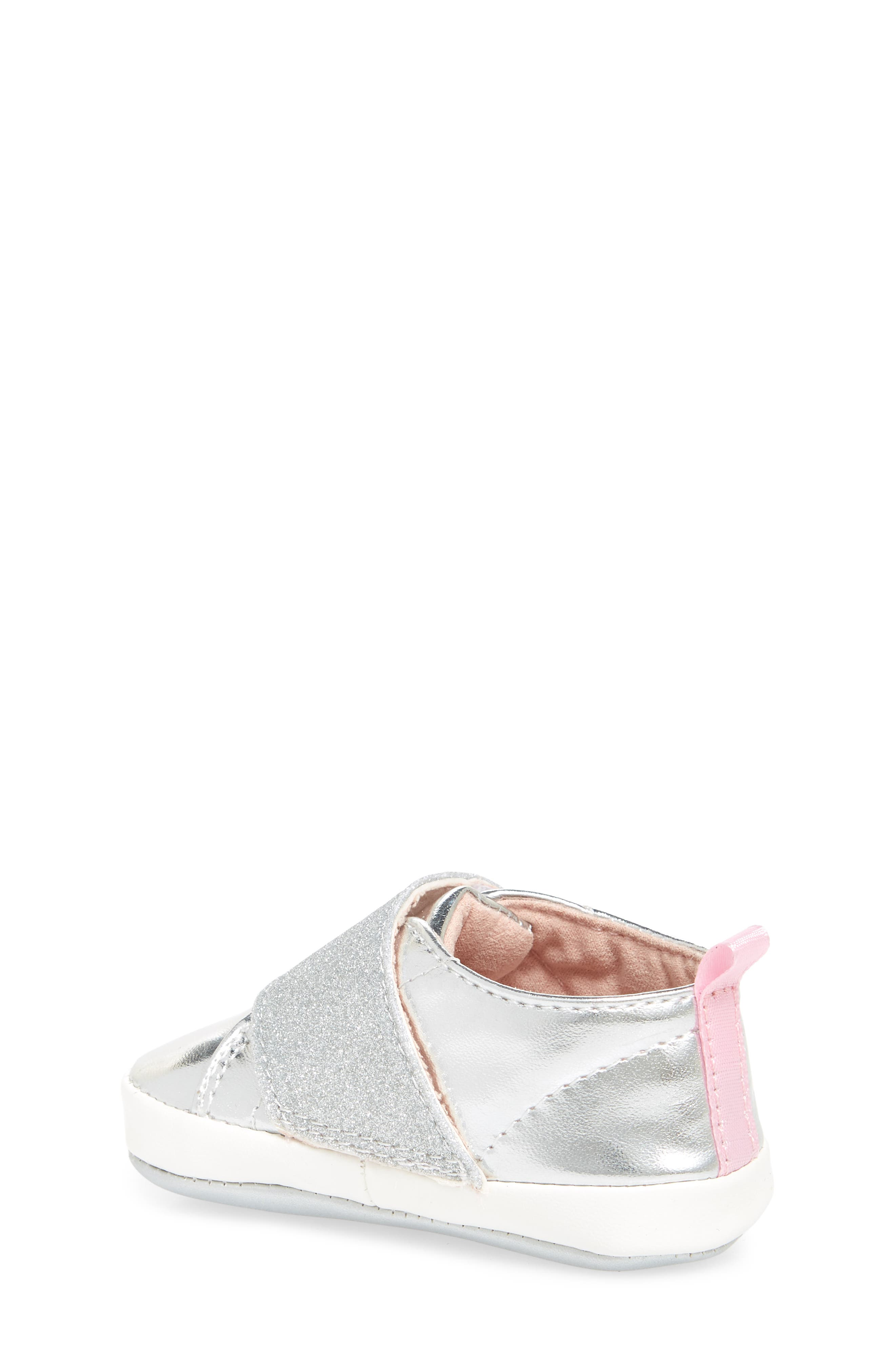 Glitter Crib Sneaker,                             Alternate thumbnail 2, color,                             SILVER MIRROR METALLIC