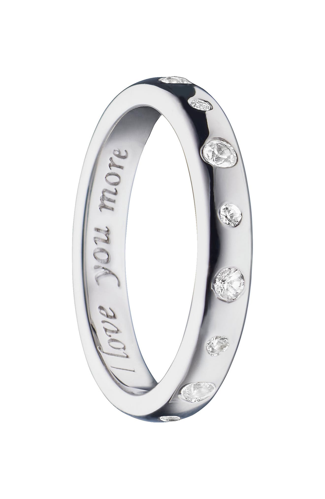 Love You More White Sapphire Poesy Ring Charm,                         Main,                         color, STERLING SILVER