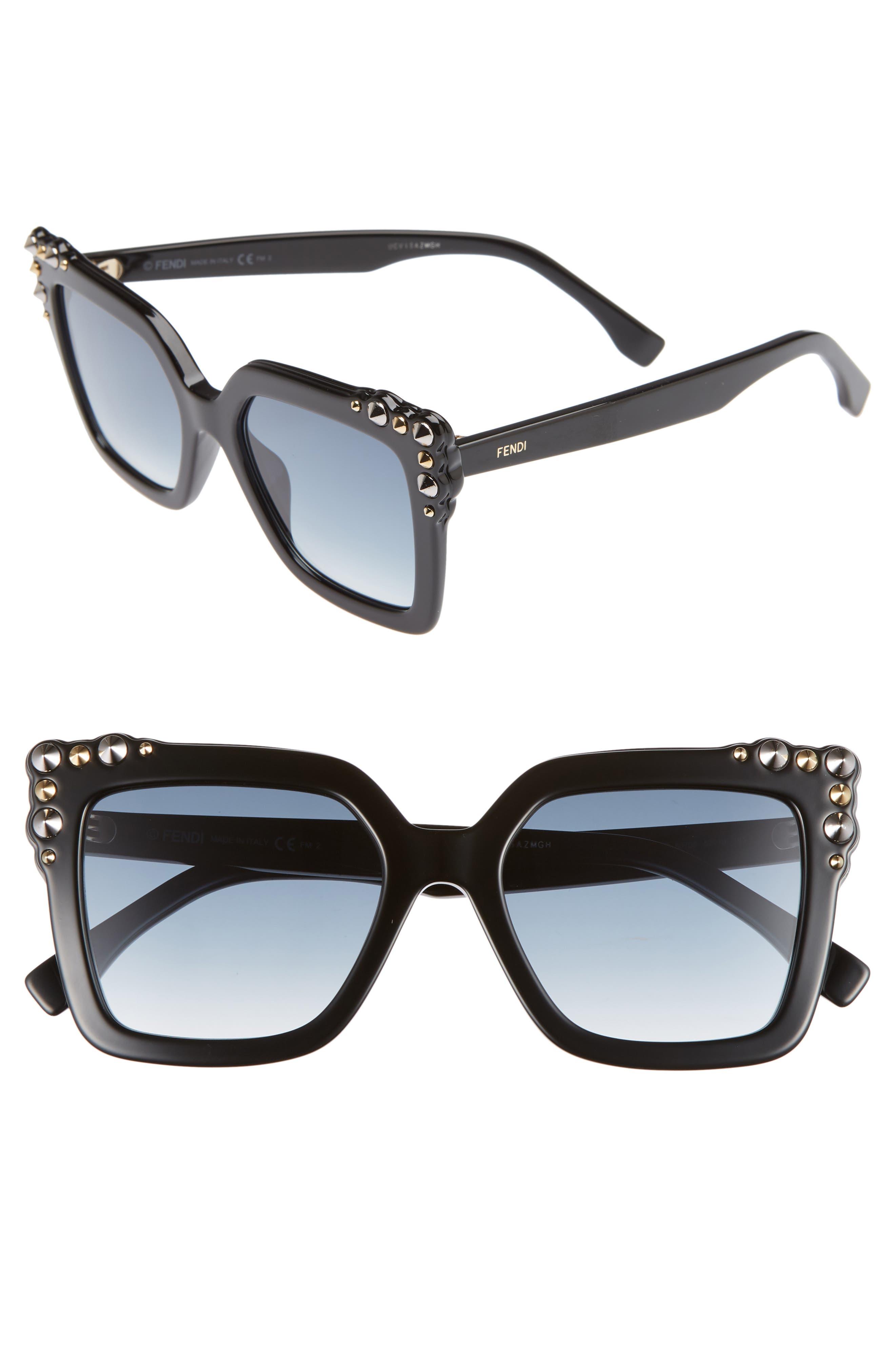 52mm Gradient Cat Eye Sunglasses,                             Main thumbnail 1, color,                             002