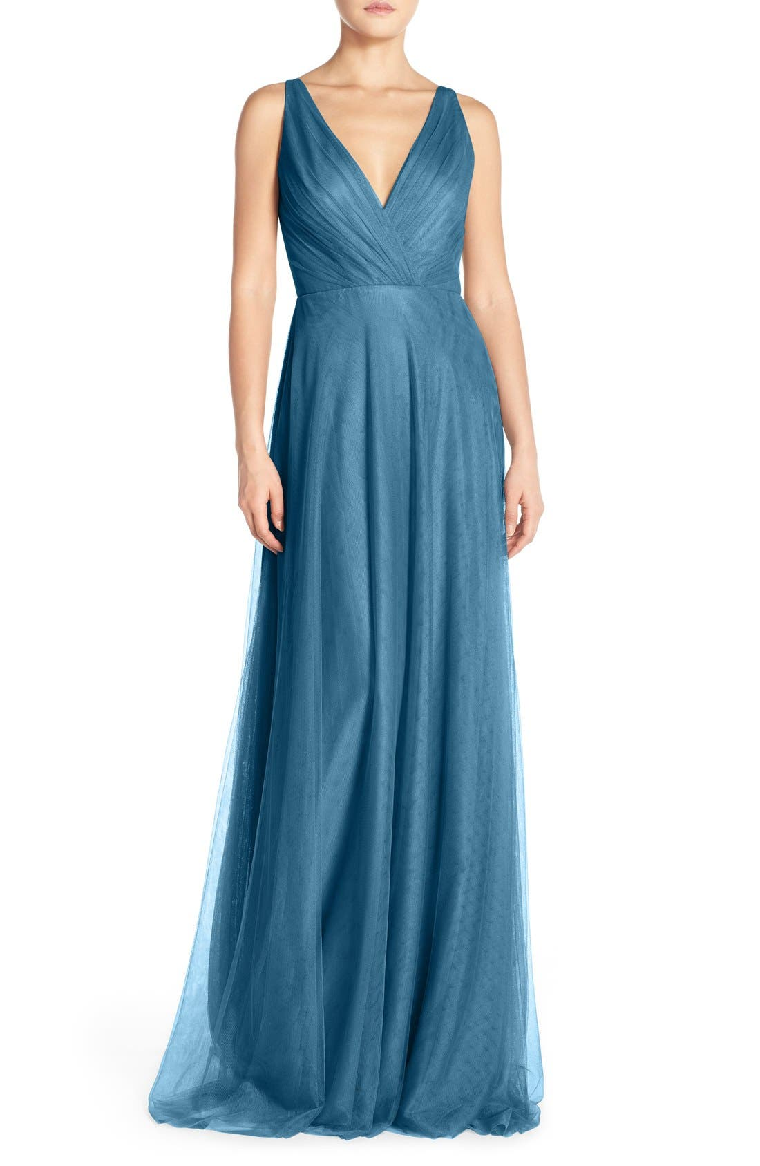 Back Cutout Pleat Tulle Gown,                             Main thumbnail 4, color,