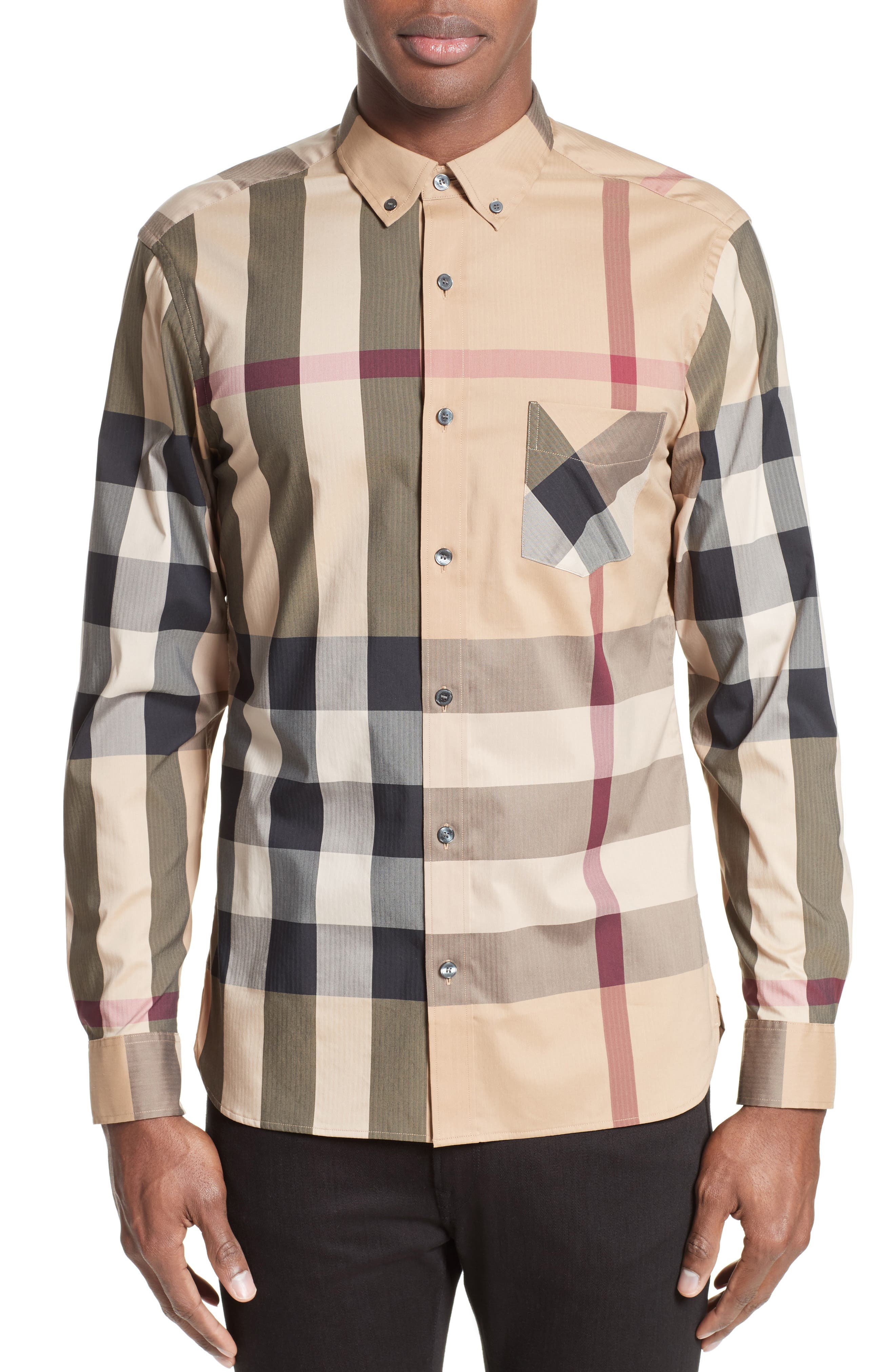 Thornaby Slim Fit Plaid Sportshirt,                             Main thumbnail 1, color,                             CAMEL
