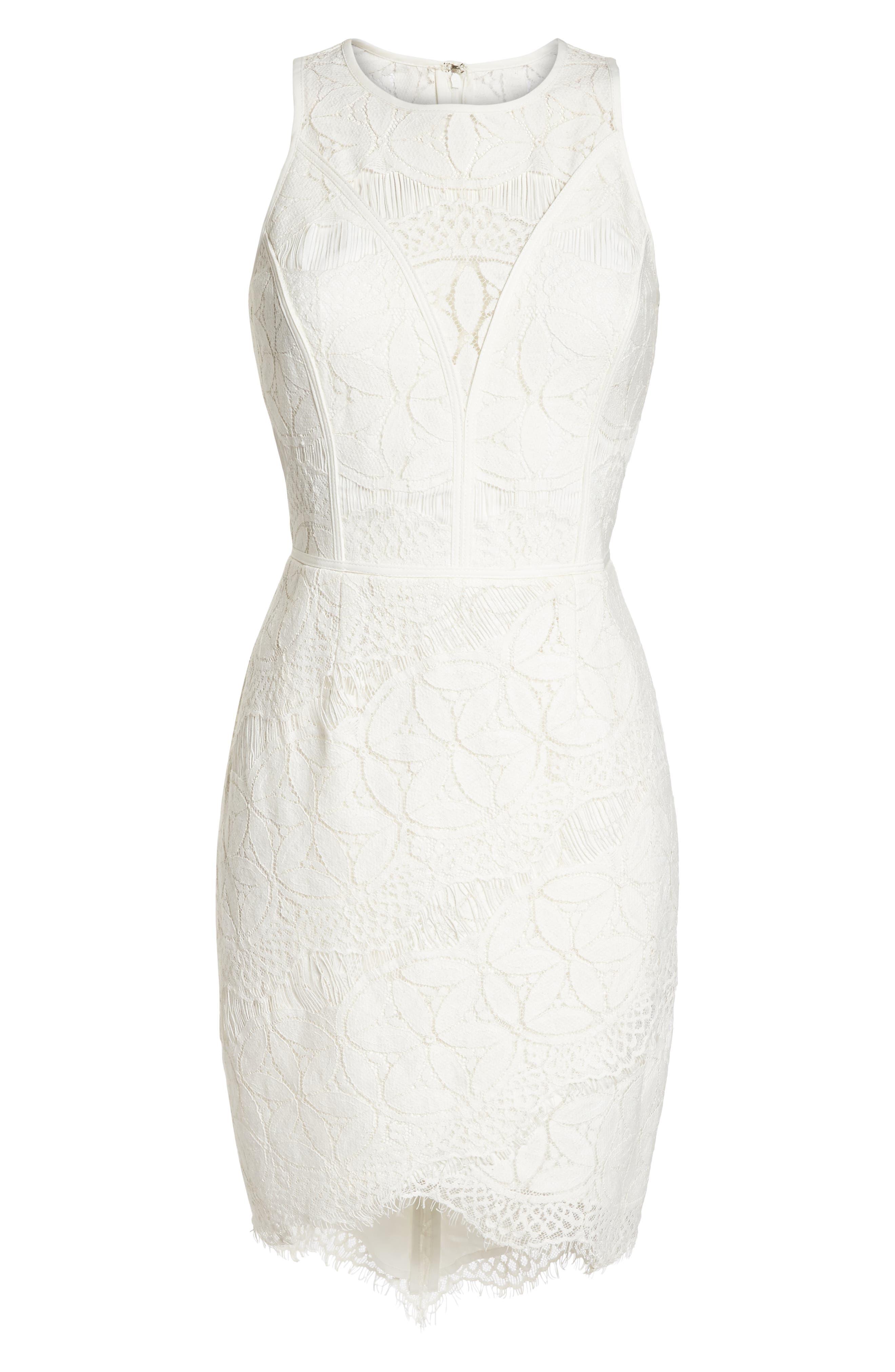 Lace High/Low Sheath Dress,                             Alternate thumbnail 7, color,                             100