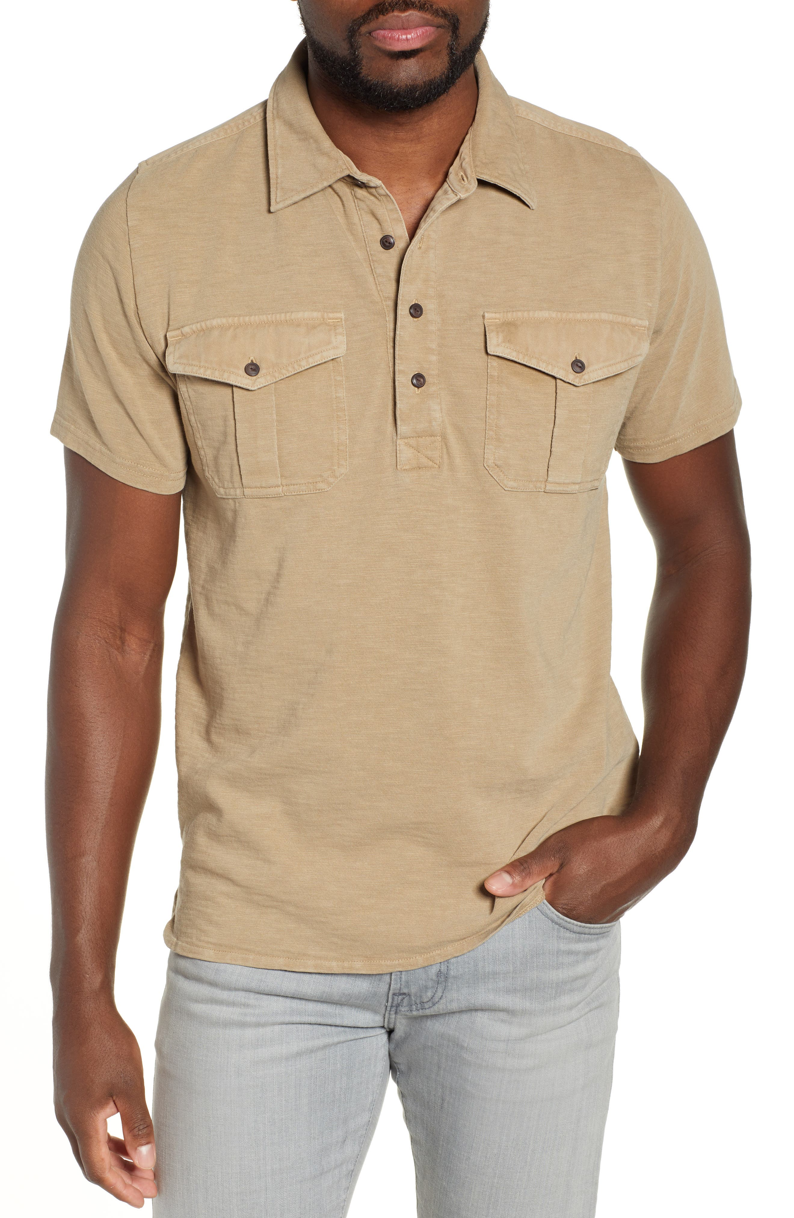 Two-Pocket Military Polo, Main, color, BEIGE
