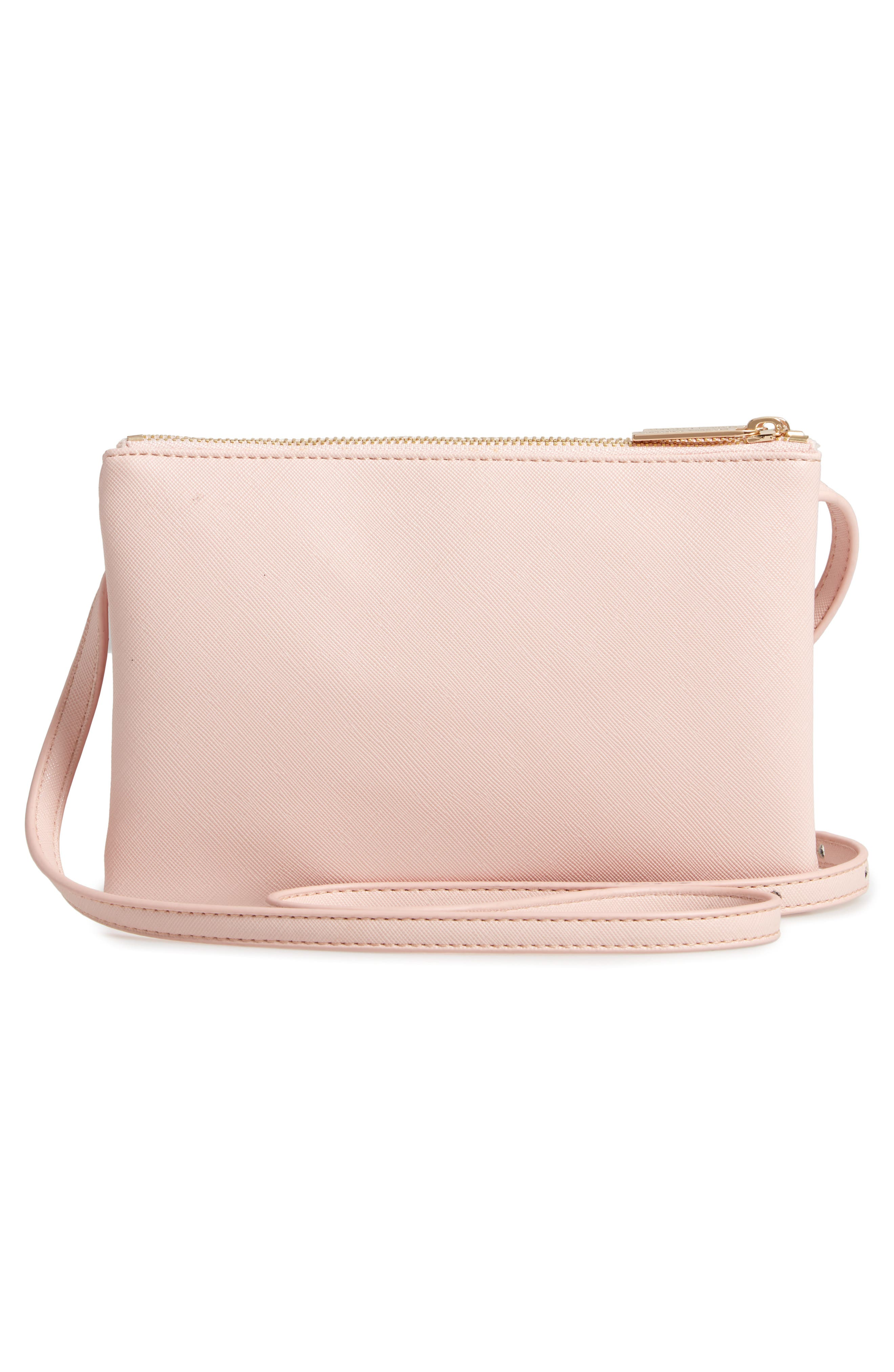 ESTELLA BARTLETT,                             Double Faux Leather Crossbody Bag,                             Alternate thumbnail 3, color,                             BLUSH