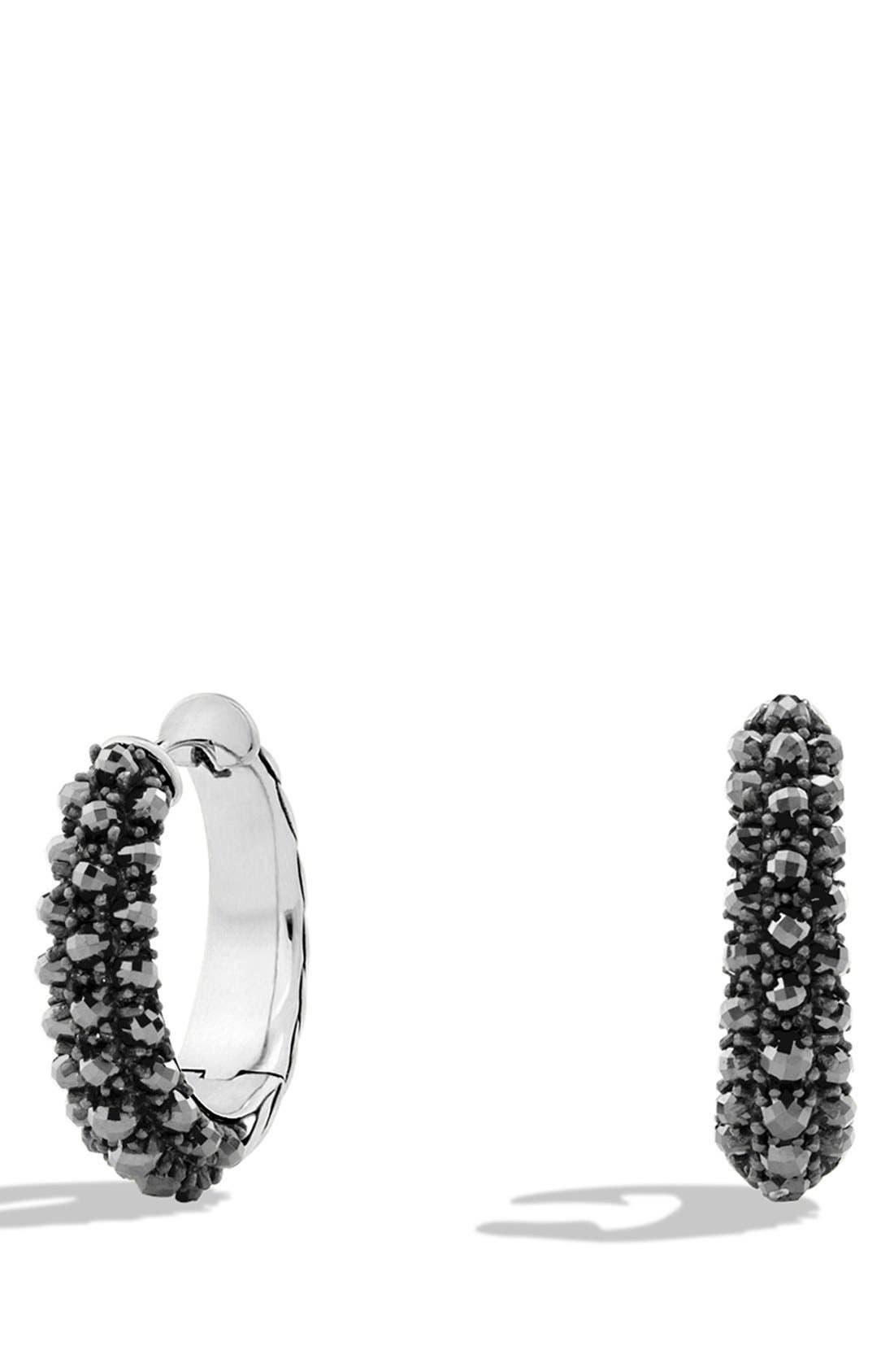 'Osetra' Hoop Earrings, Main, color, HEMATINE