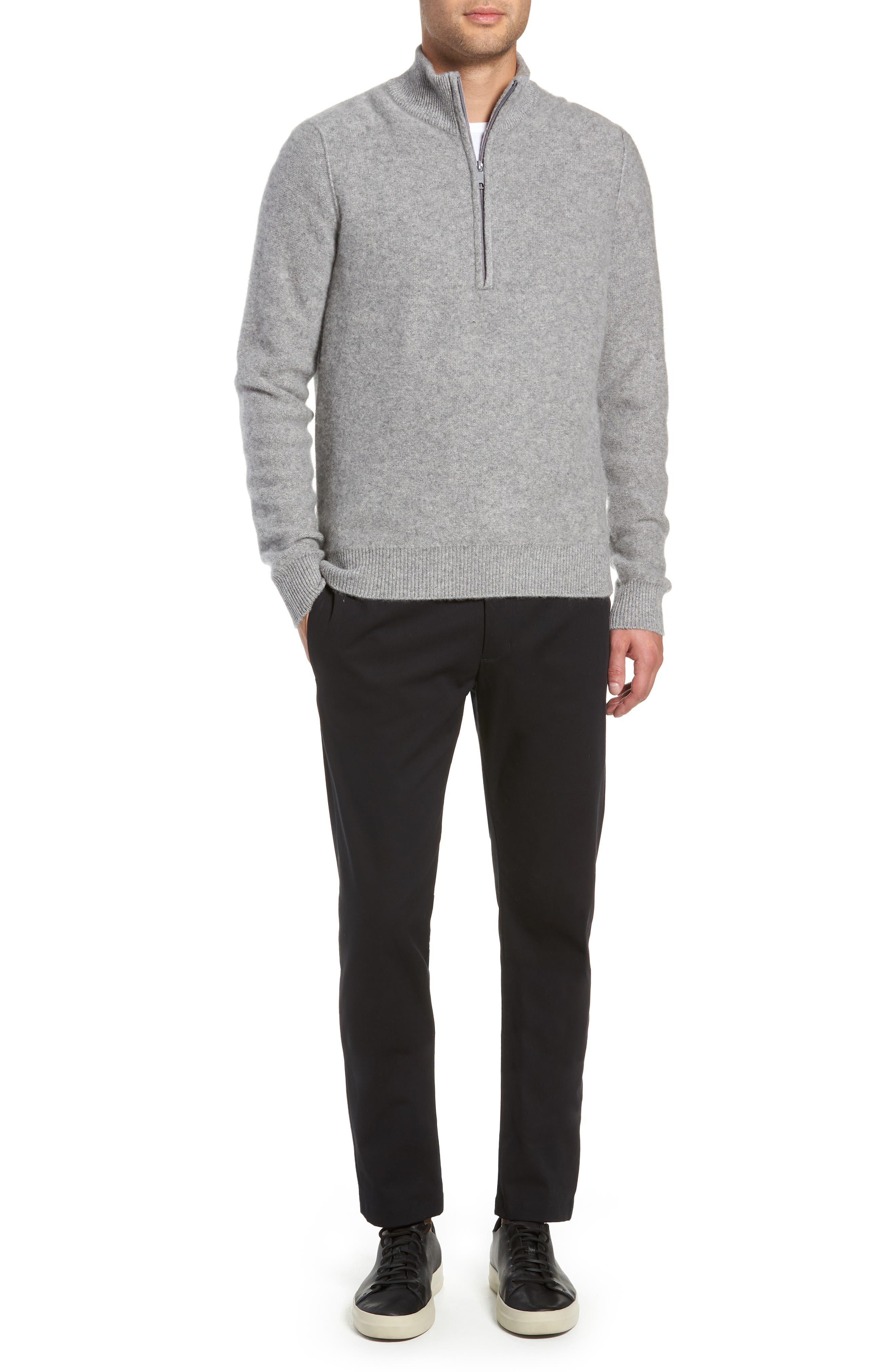 Cashmere Quarter Zip Sweater,                             Alternate thumbnail 7, color,                             H GREY