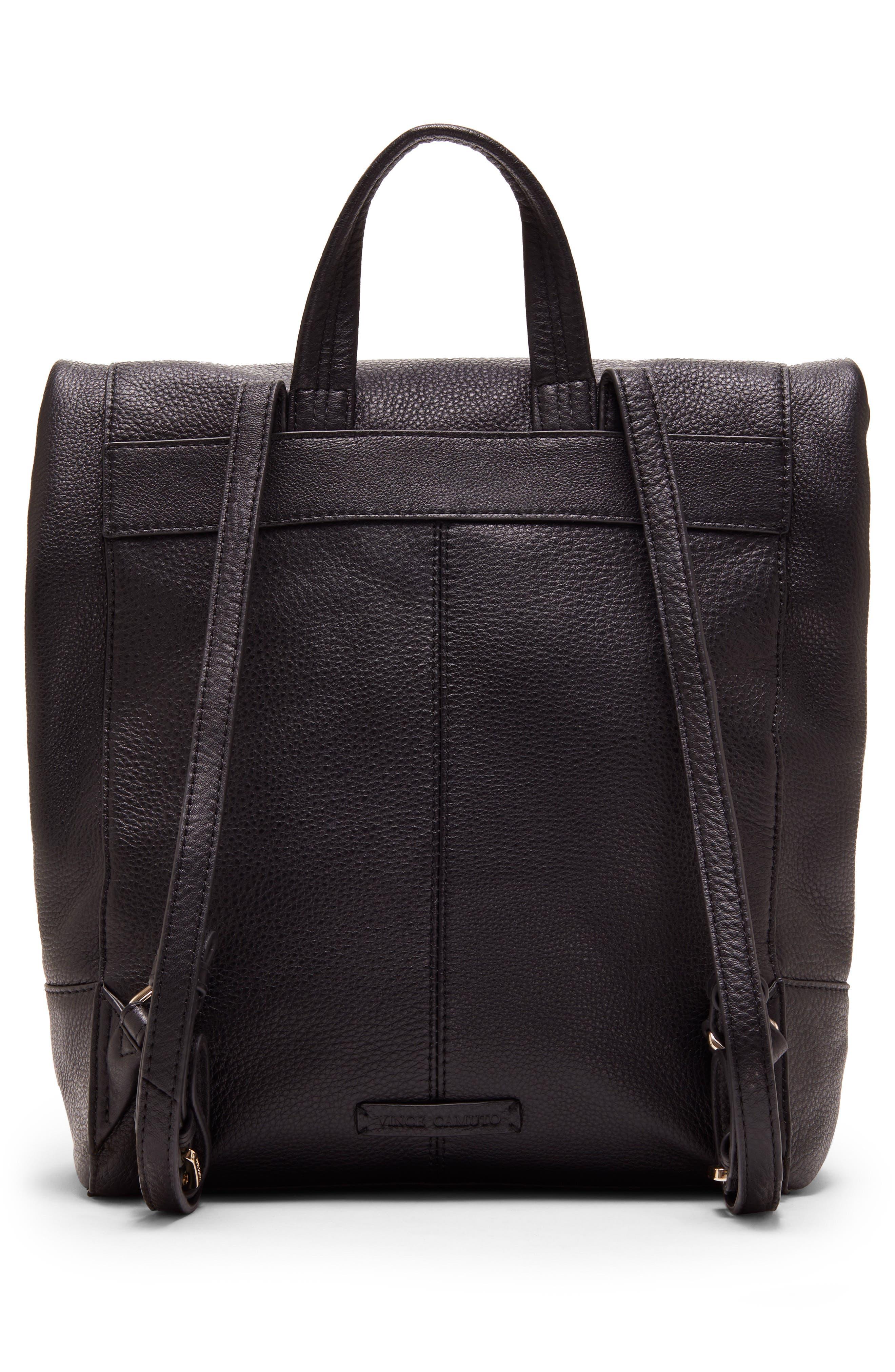 Min Pebbled Leather Backpack,                             Alternate thumbnail 2, color,                             BLACK