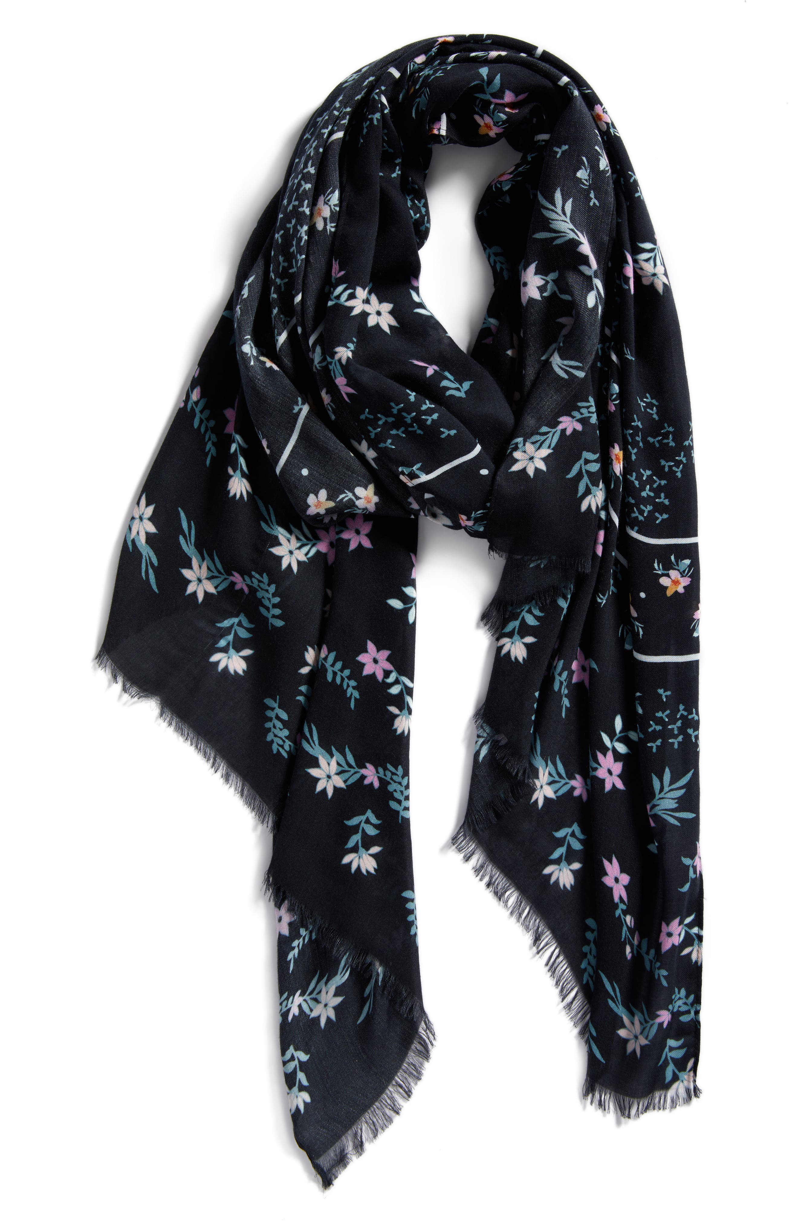 Twilight Floral Scarf,                             Alternate thumbnail 2, color,                             BLACK