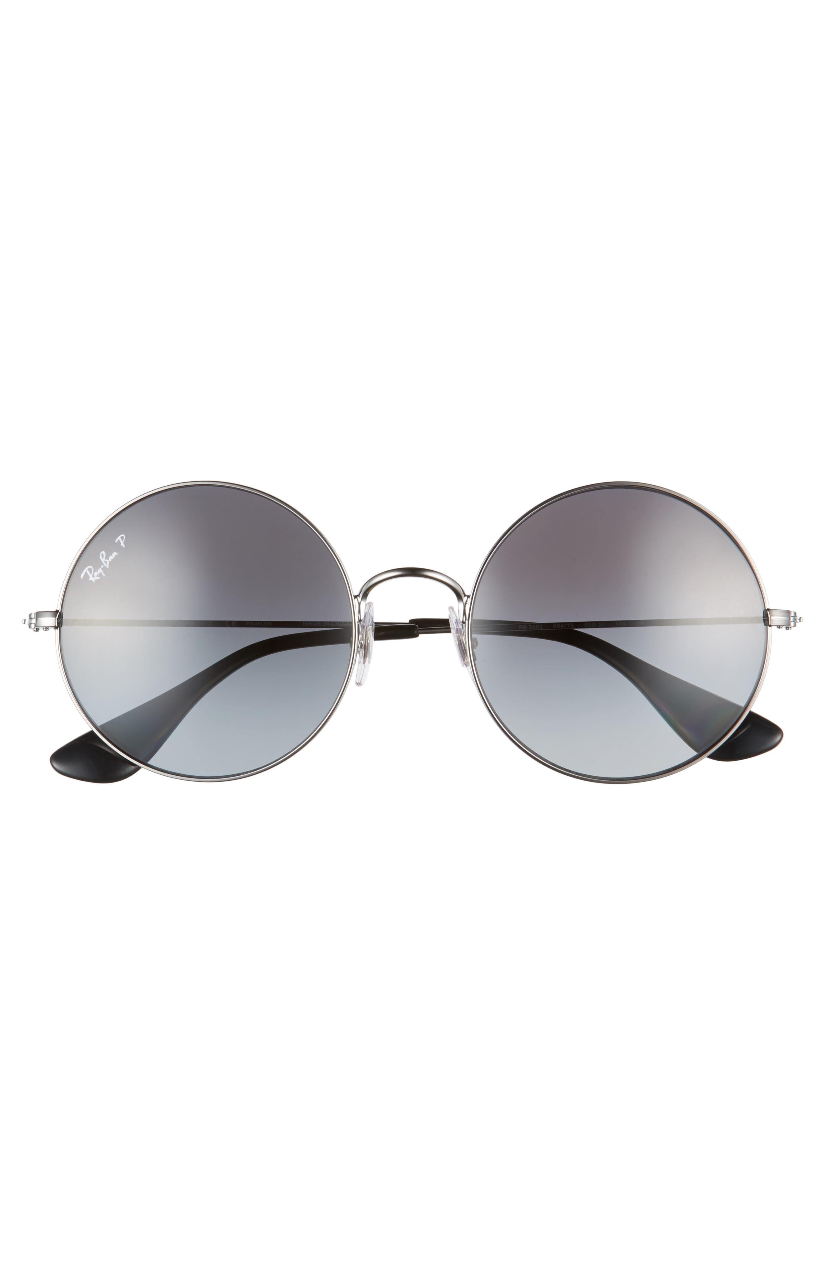 55mm Polarized Round Sunglasses,                             Alternate thumbnail 3, color,                             020