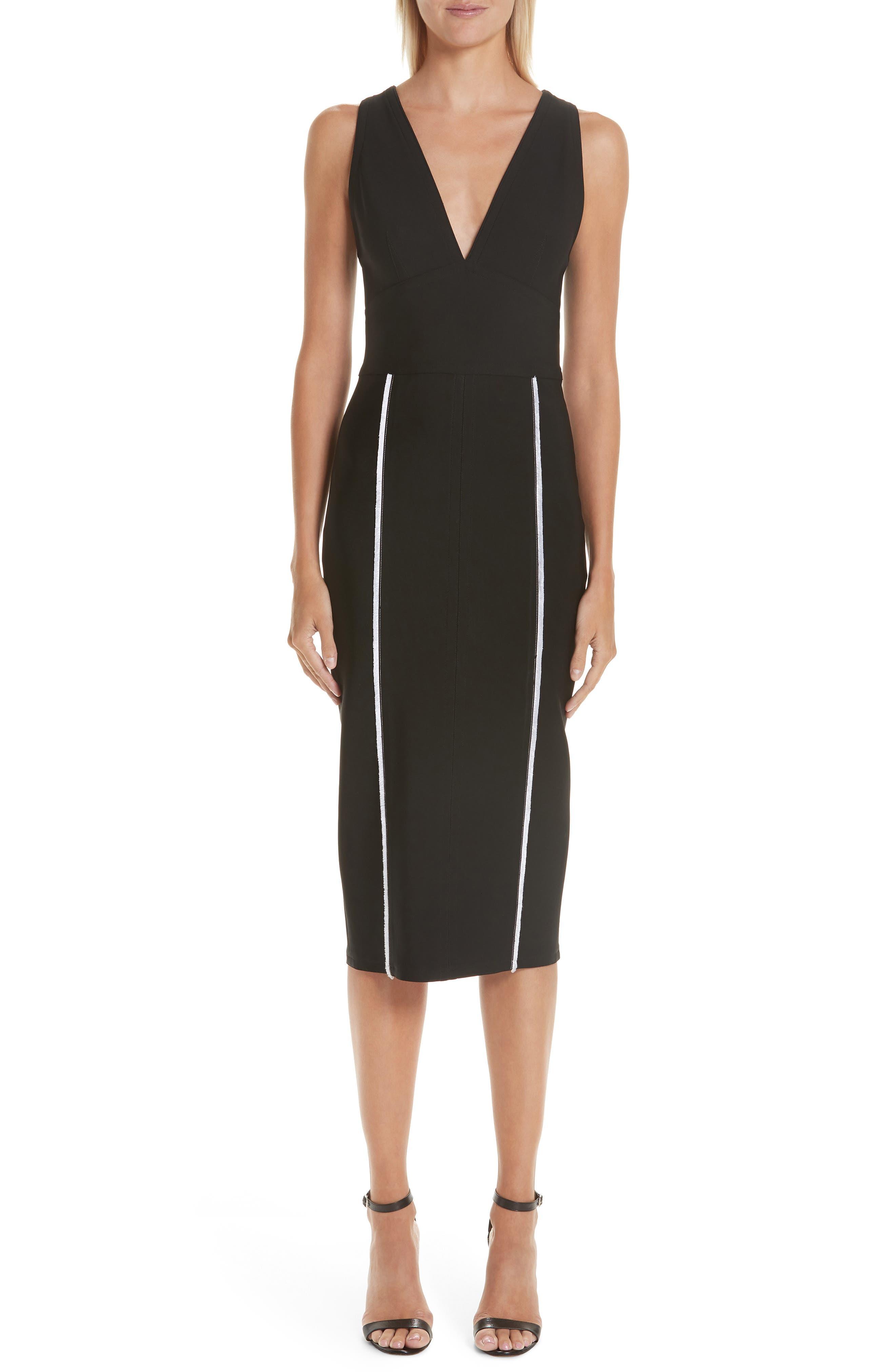 Yigal Azrouel Contrast Trim Body-Con Dress, Black