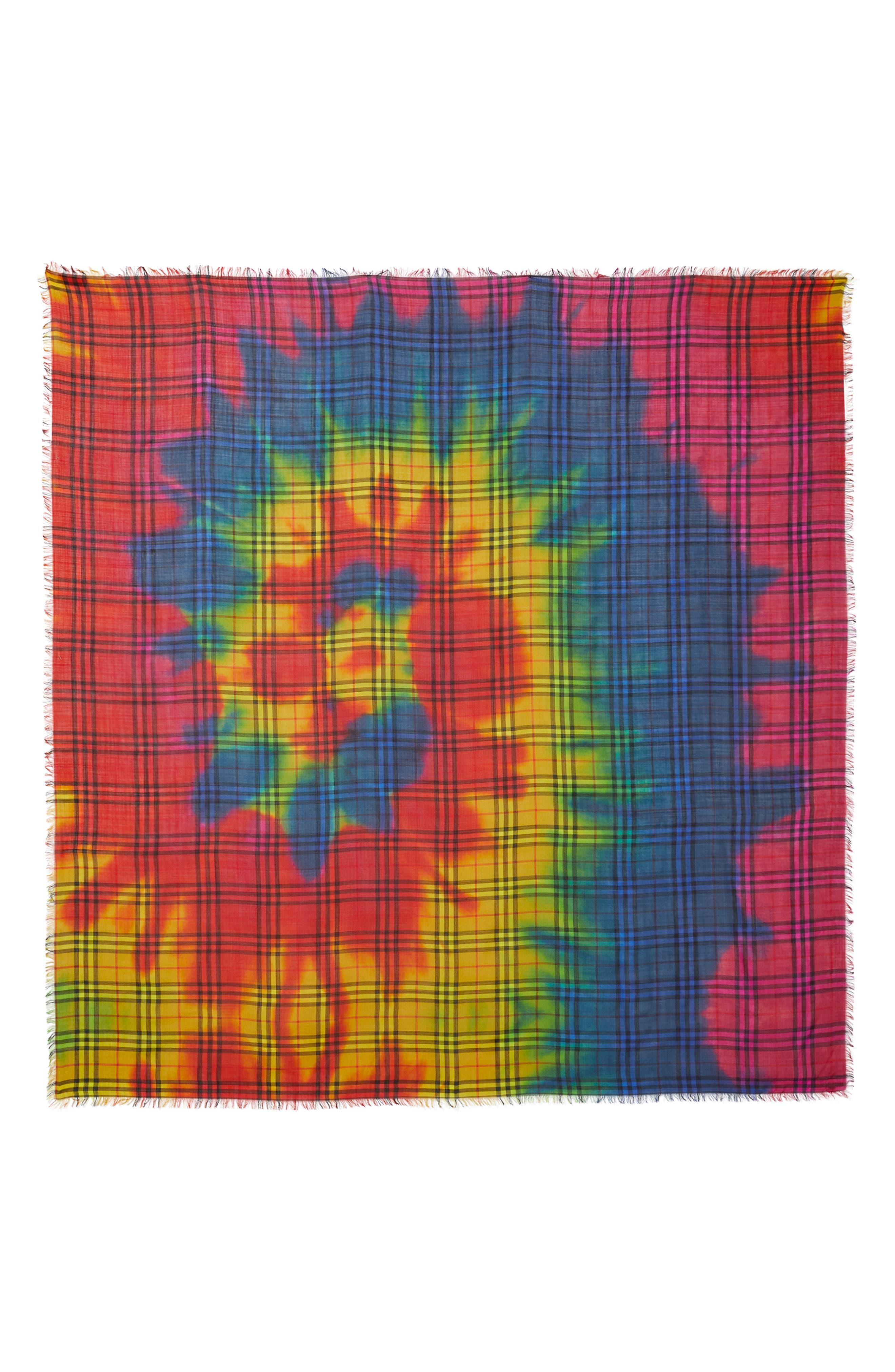 Rainbow Tie Dye Vintage Check Wool & Silk Scarf,                         Main,                         color, 600