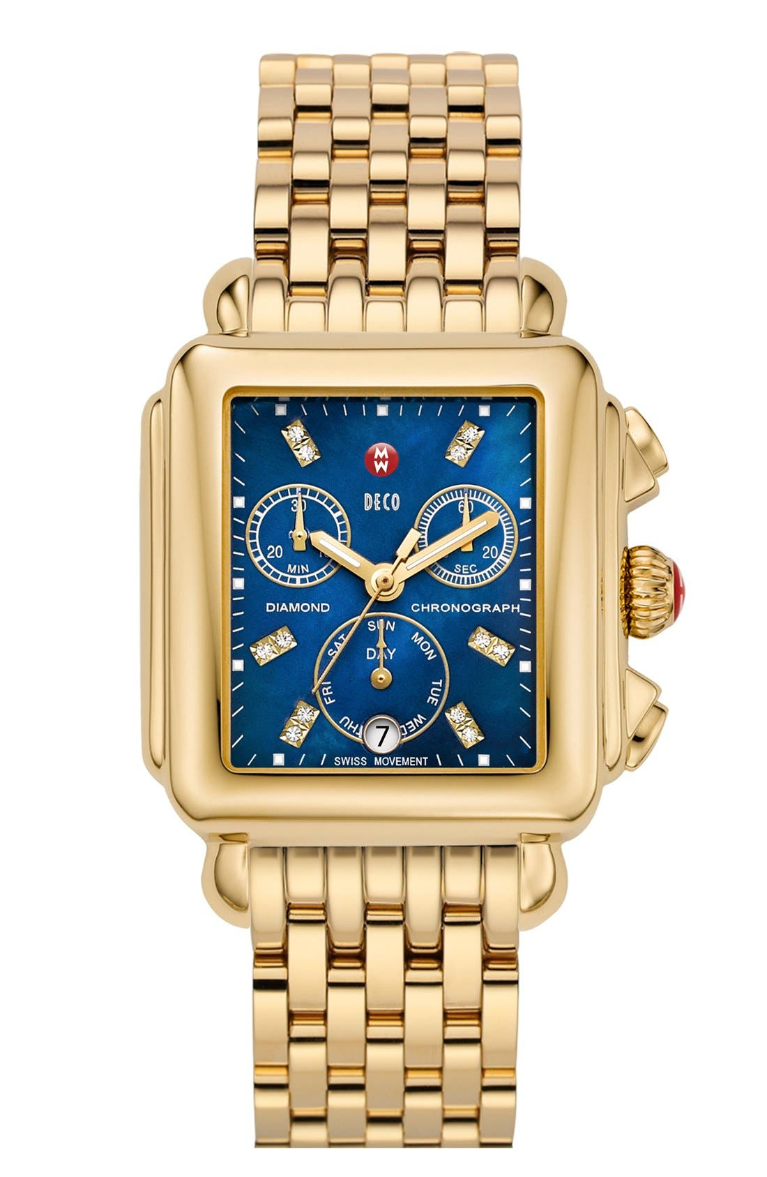 Deco Diamond Dial Gold Plated Watch Case, 33mm x 35mm,                             Alternate thumbnail 18, color,