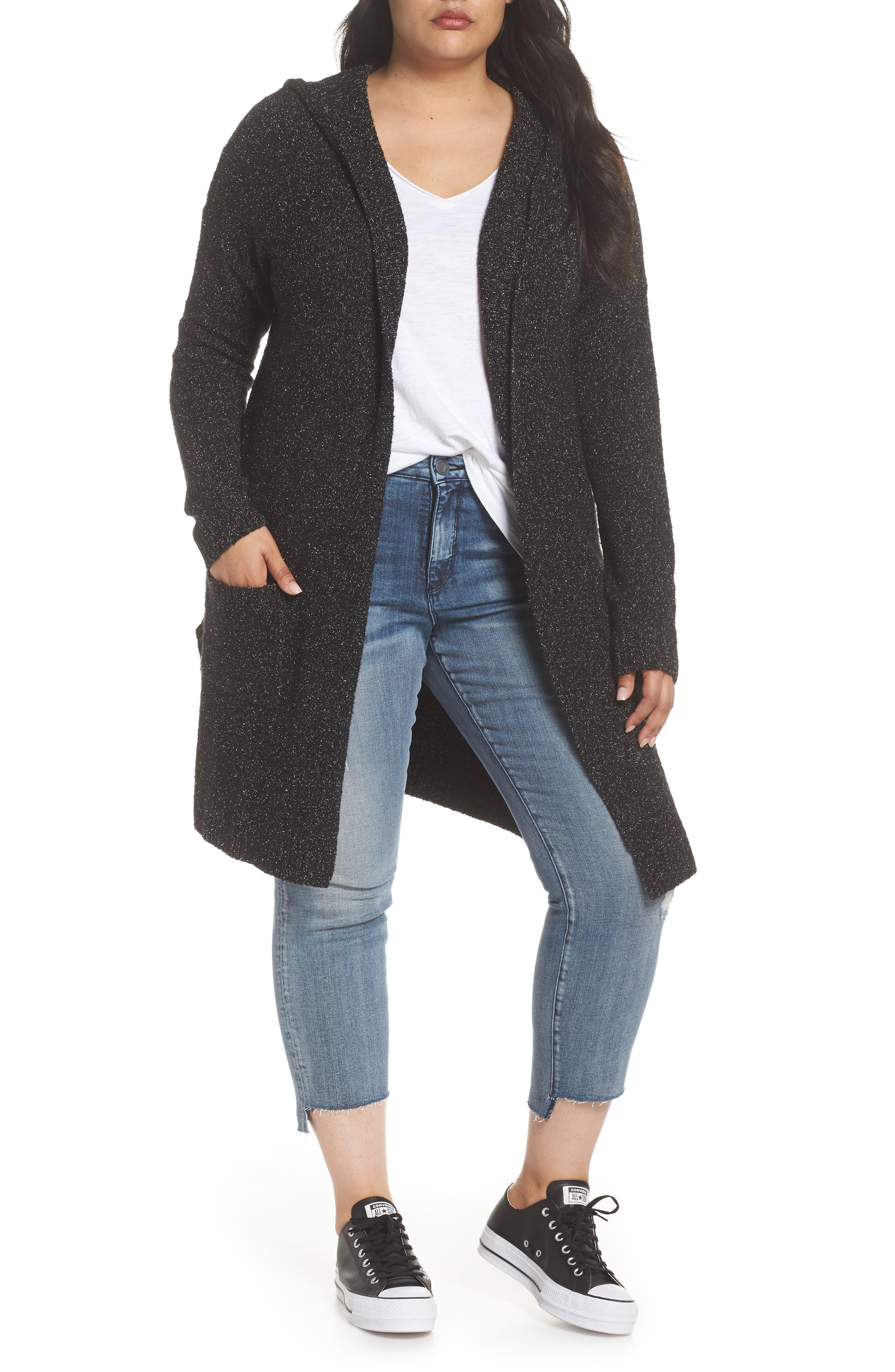 Hooded Cardigan,                         Main,                         color, BLACK