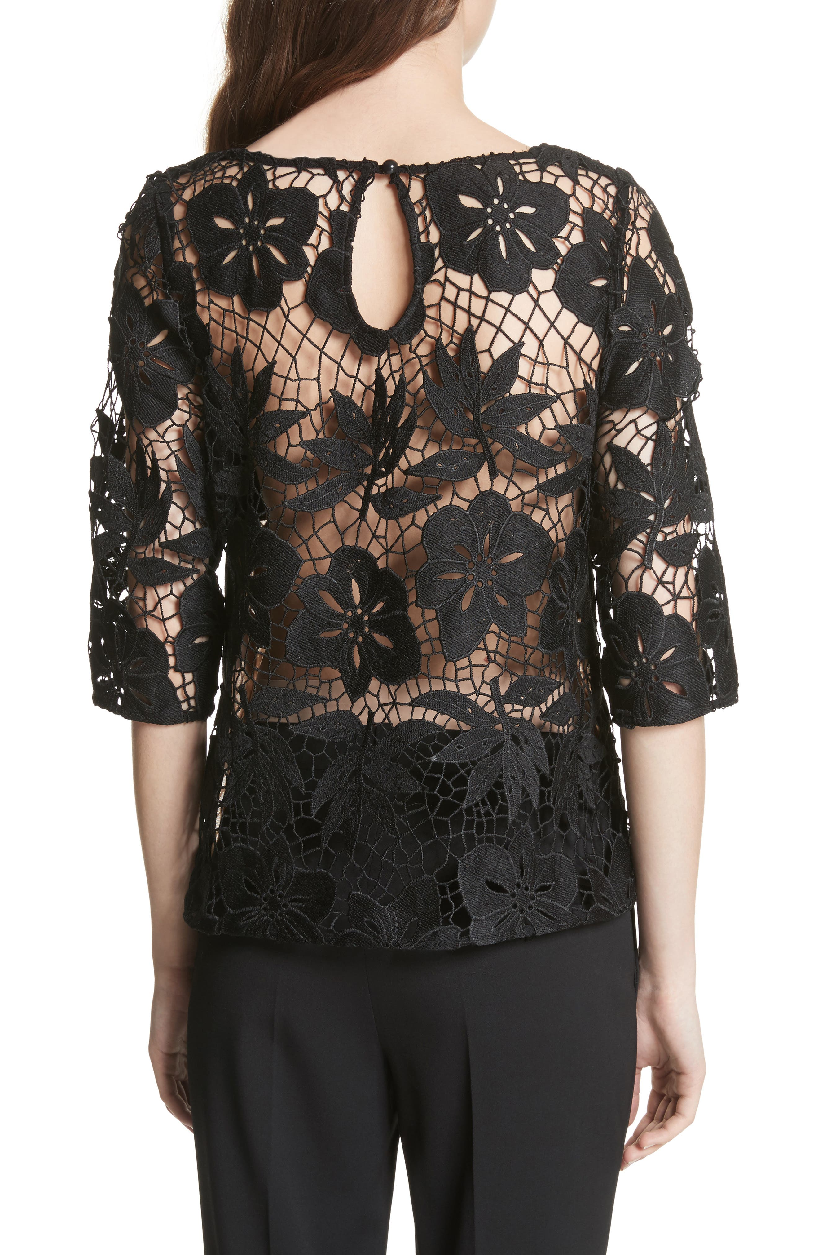 Mixed Media Lace Top,                             Alternate thumbnail 2, color,