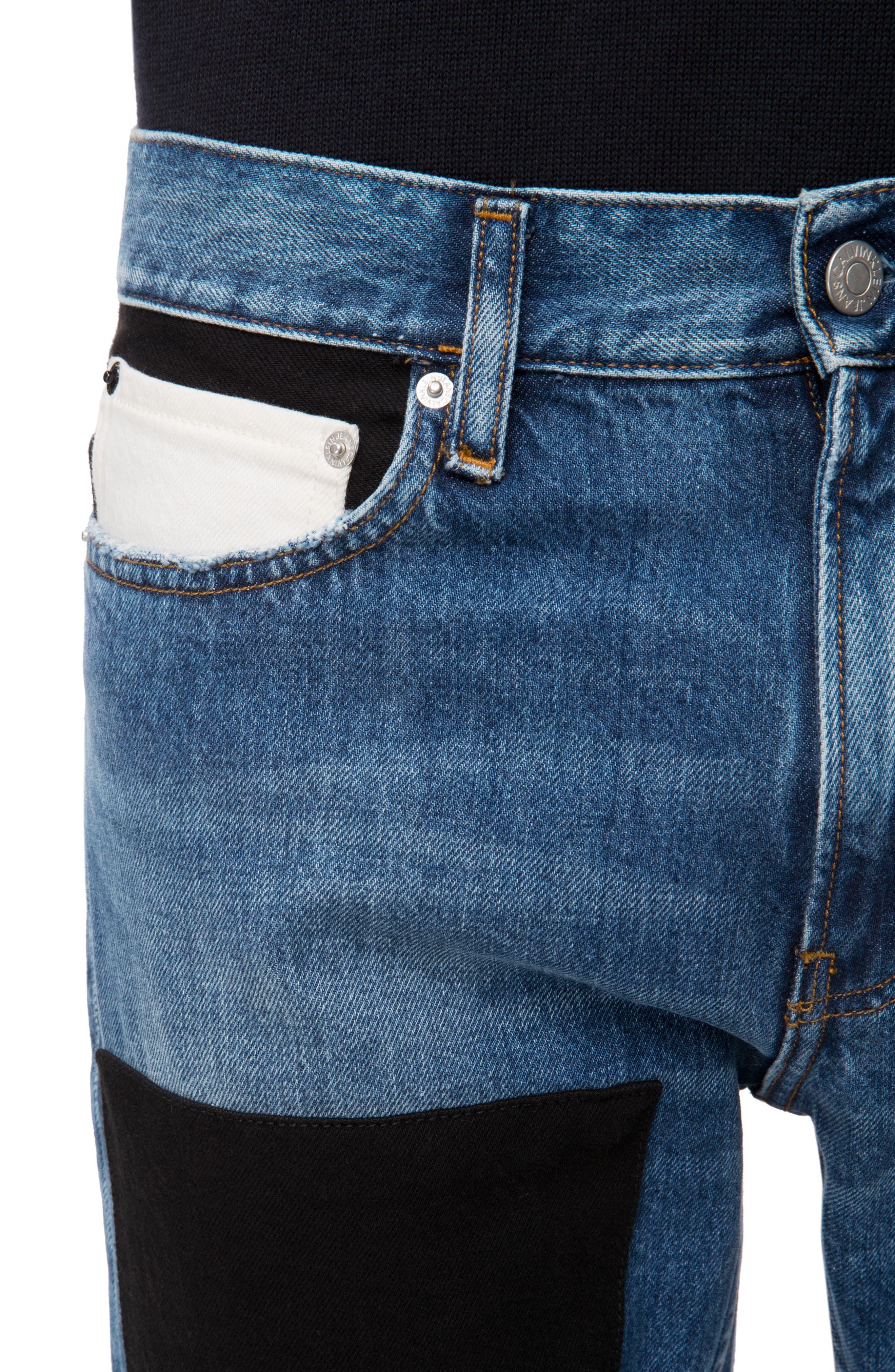 Slim Fit Colorblock Jeans,                             Alternate thumbnail 3, color,                             400