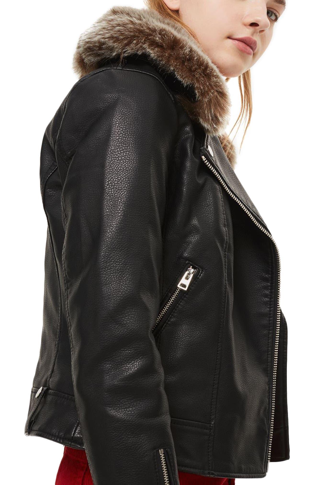 Rayne Faux Fur Trim Biker Jacket,                             Alternate thumbnail 3, color,                             001