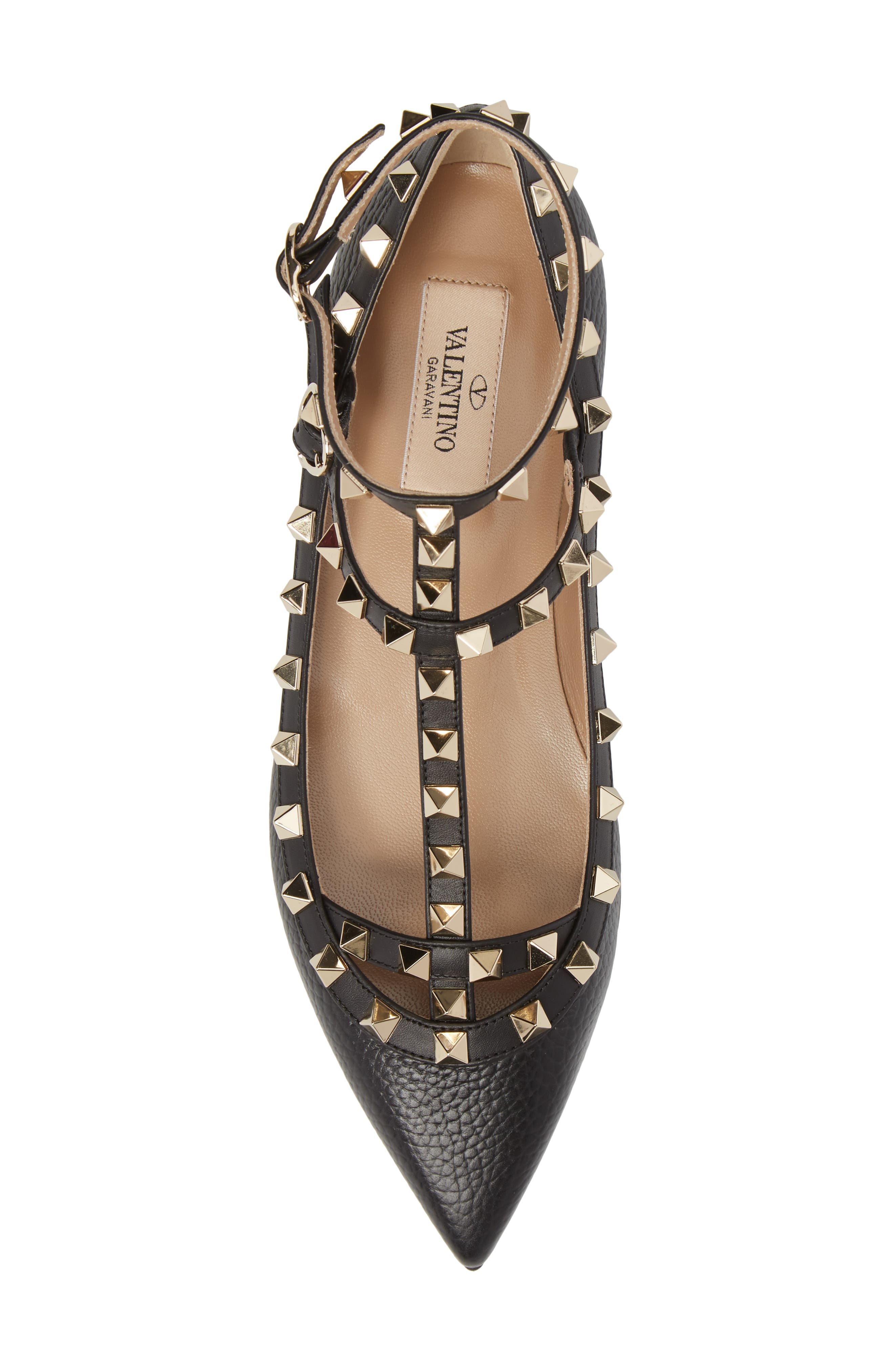 Rockstud Ankle Strap Pointy Toe Flat,                             Alternate thumbnail 5, color,                             001
