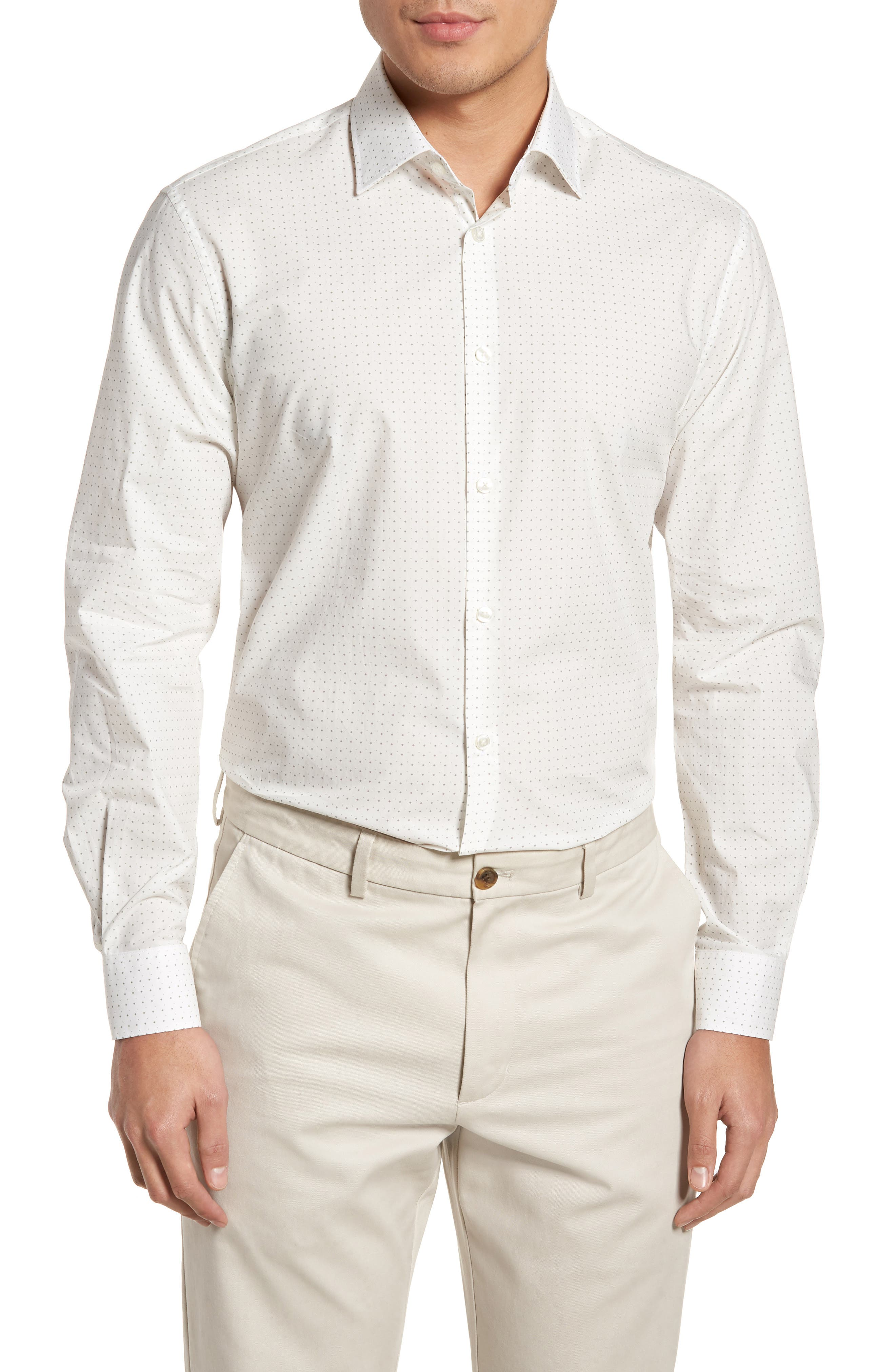 Regular Fit Diamond Dress Shirt,                             Main thumbnail 1, color,                             GRIFFIN GREY