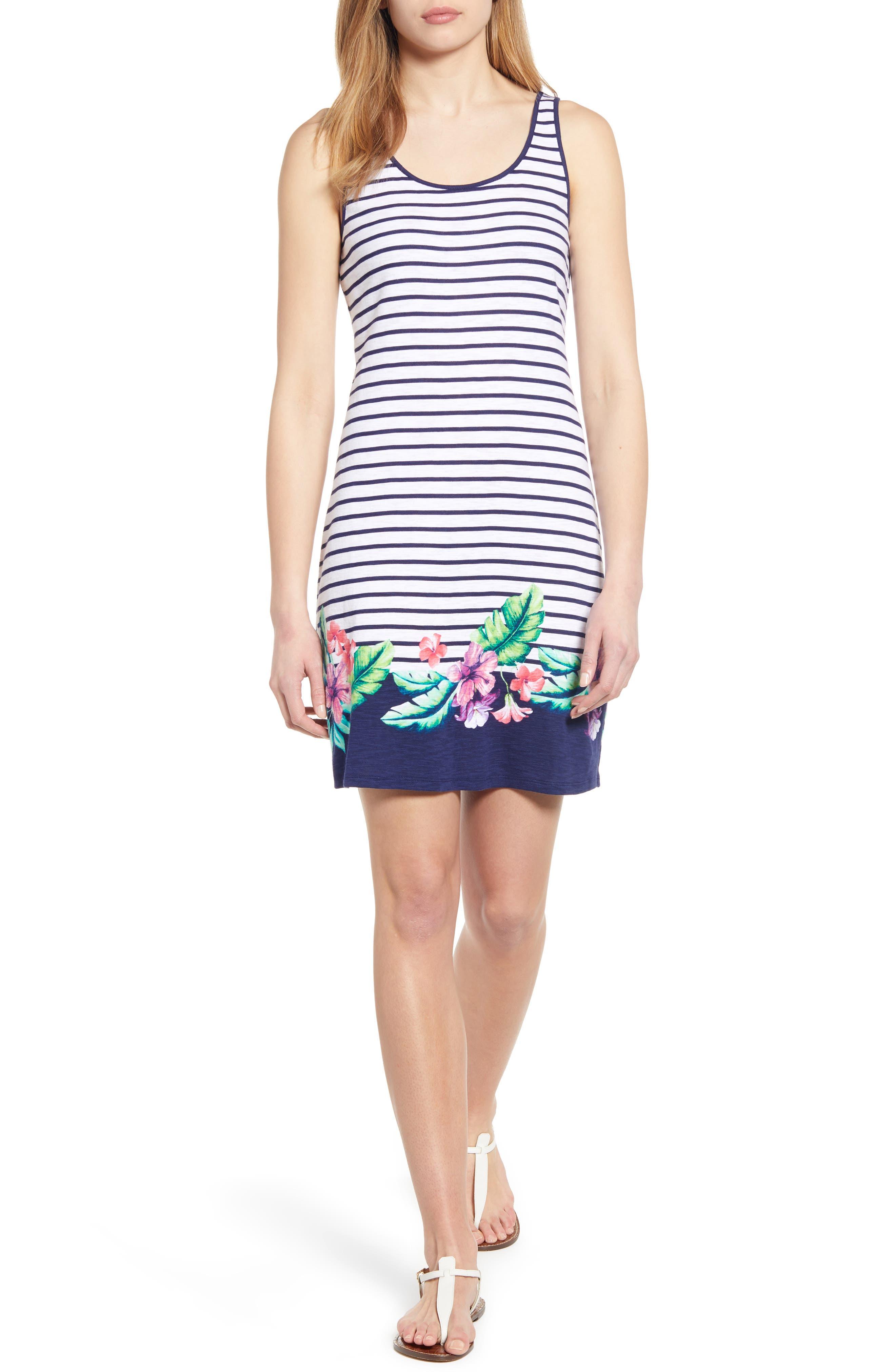 Tommy Bahama Villa Ibisco Stripe Floral Border Cotton Shift Dress, Blue