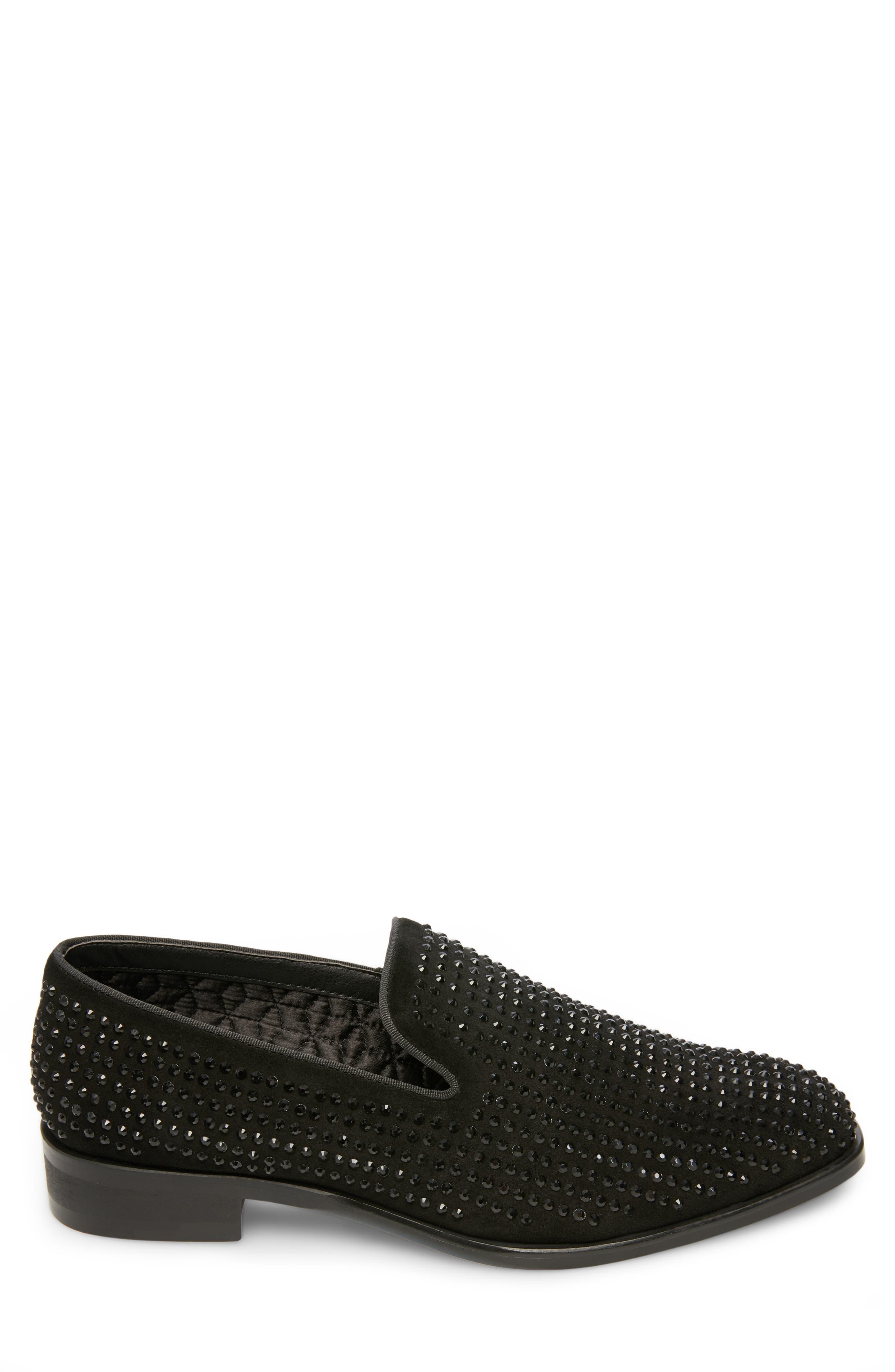 Falsetto Studded Venetian Loafer,                             Alternate thumbnail 3, color,                             BLACK