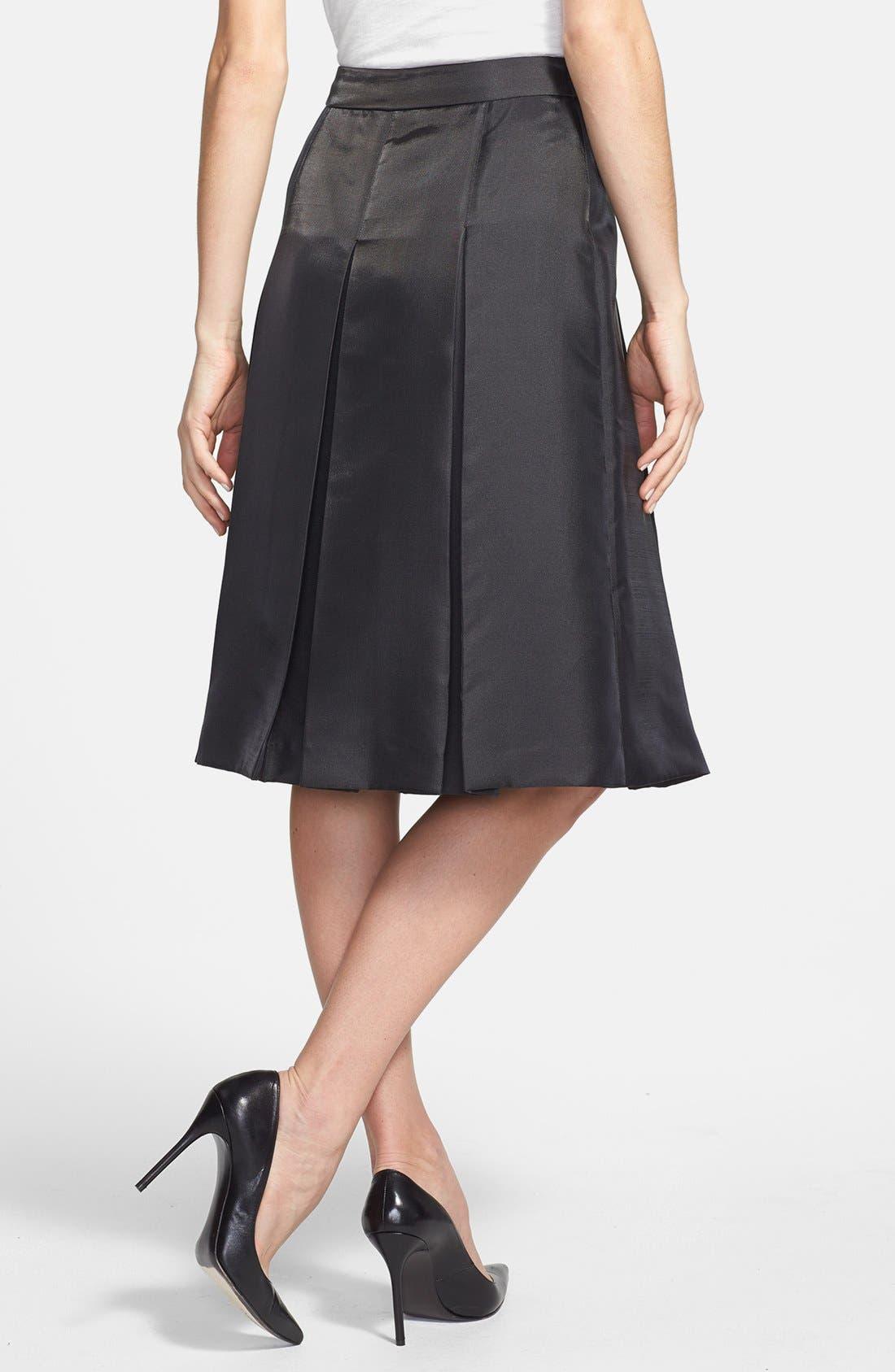 Pleat Midi Skirt,                             Alternate thumbnail 6, color,                             001
