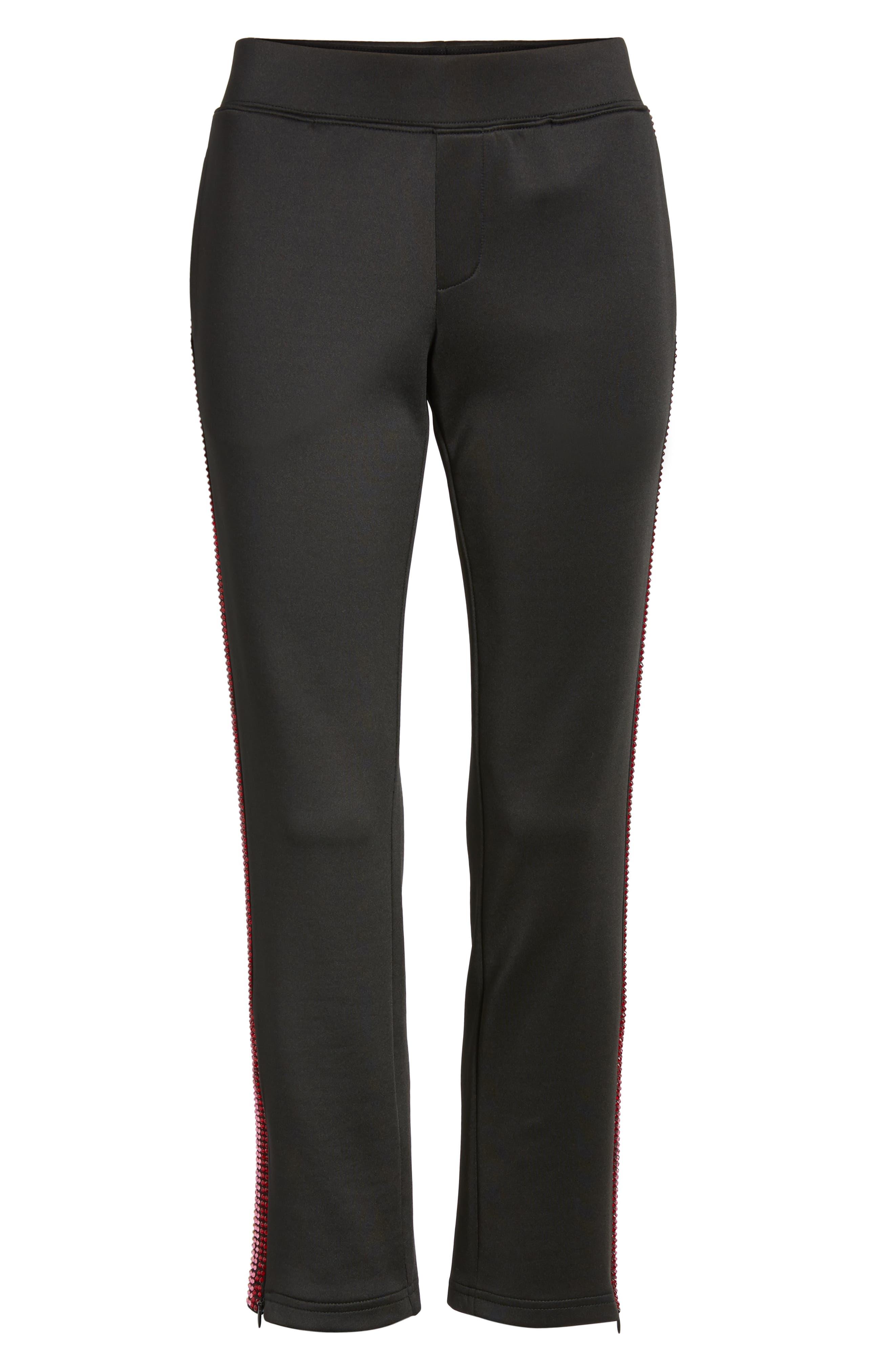 Rhinestone Track Pants,                             Alternate thumbnail 7, color,                             BLACK