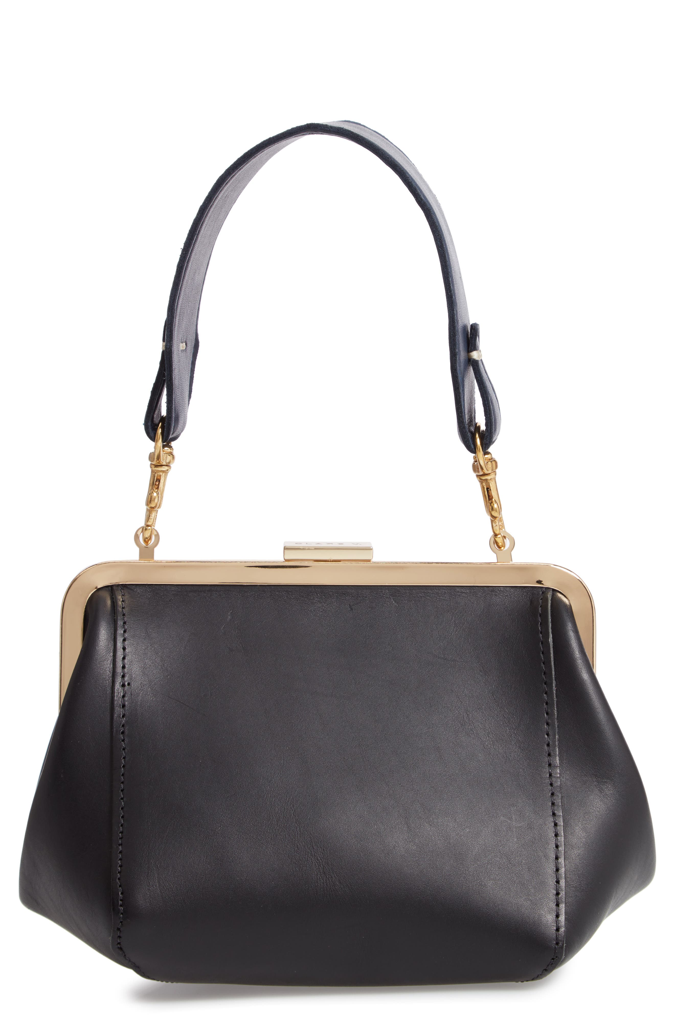 Le Box Leather Top Handle Bag,                         Main,                         color, 001
