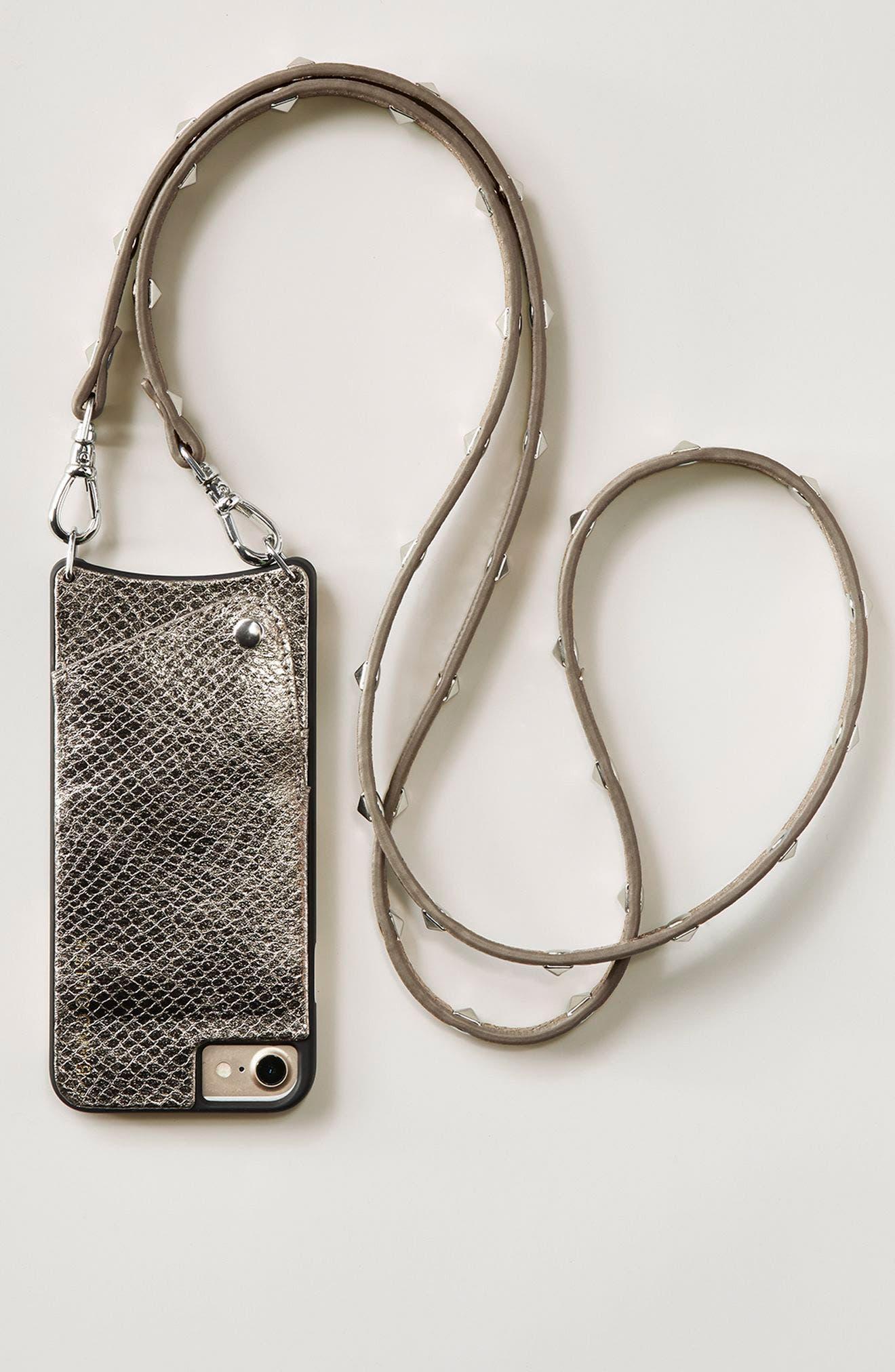 Sarah Metallic Faux Snakeskin iPhone 6/7/8 & 6/7/8 Plus Crossbody Case,                             Alternate thumbnail 7, color,                             PEWTER/ SILVER