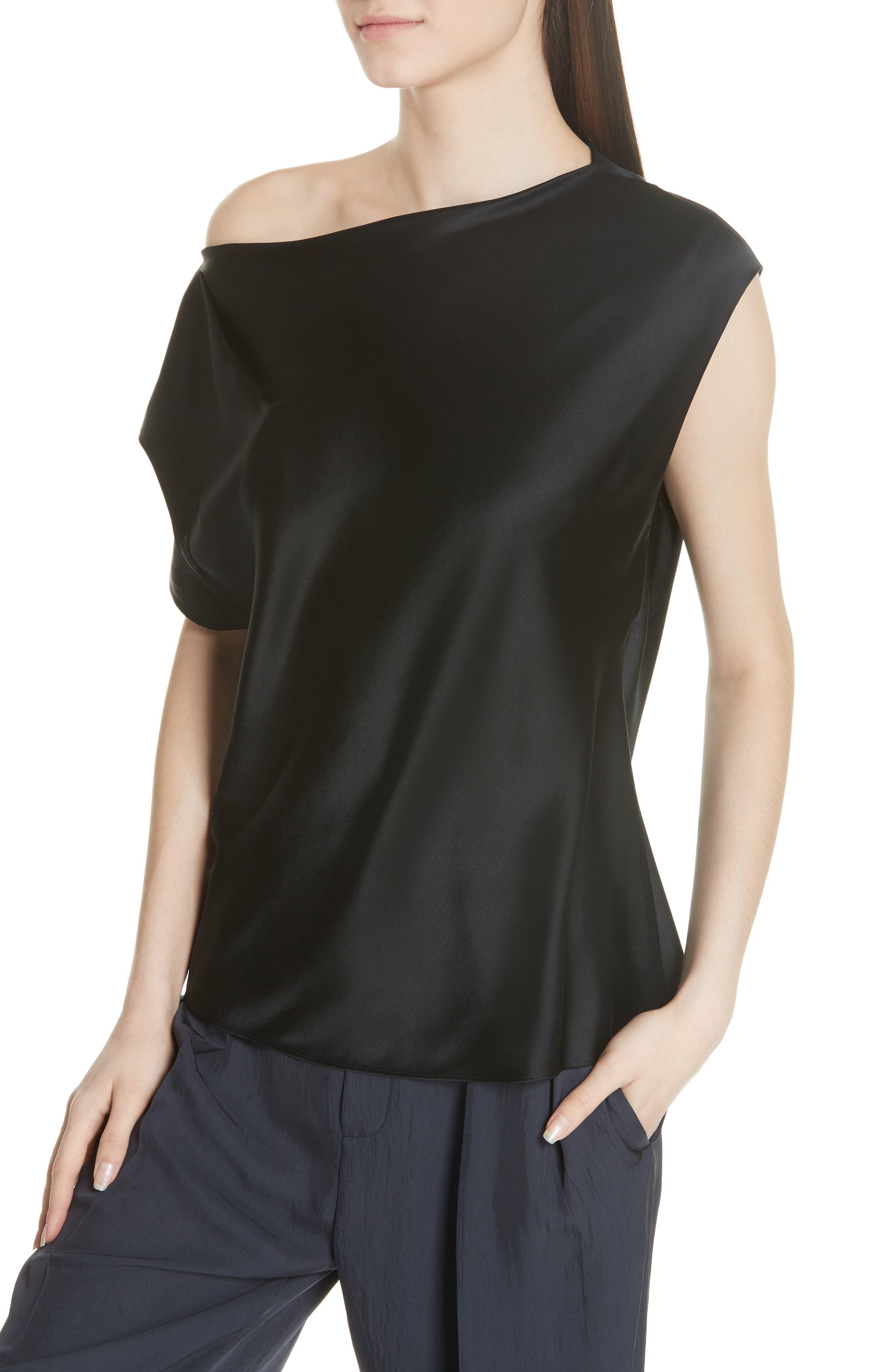 Silk Off the Shoulder Blouse,                             Alternate thumbnail 4, color,                             001