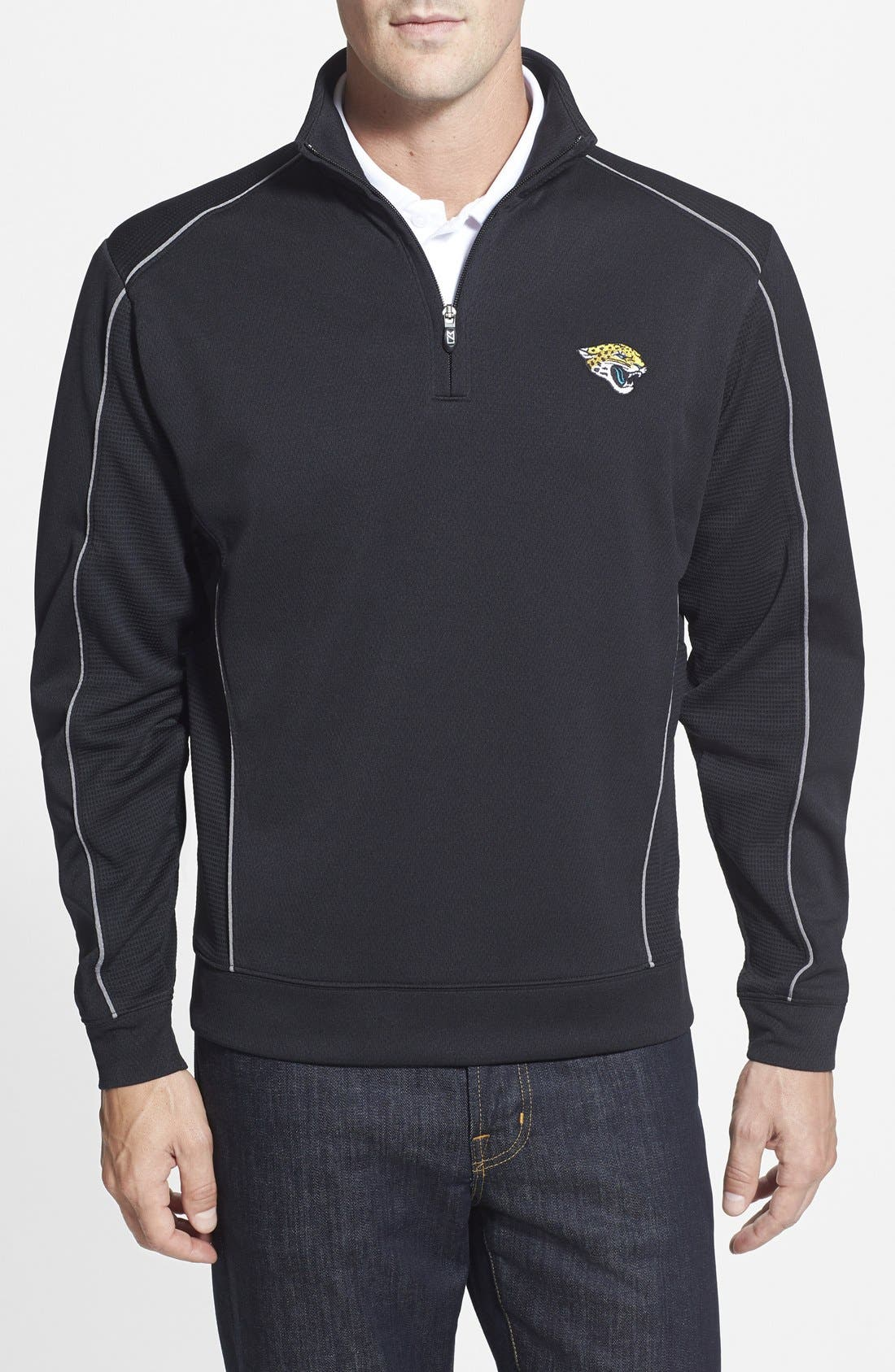 CUTTER & BUCK Jacksonville Jaguars - Edge DryTec Moisture Wicking Half Zip Pullover, Main, color, 001