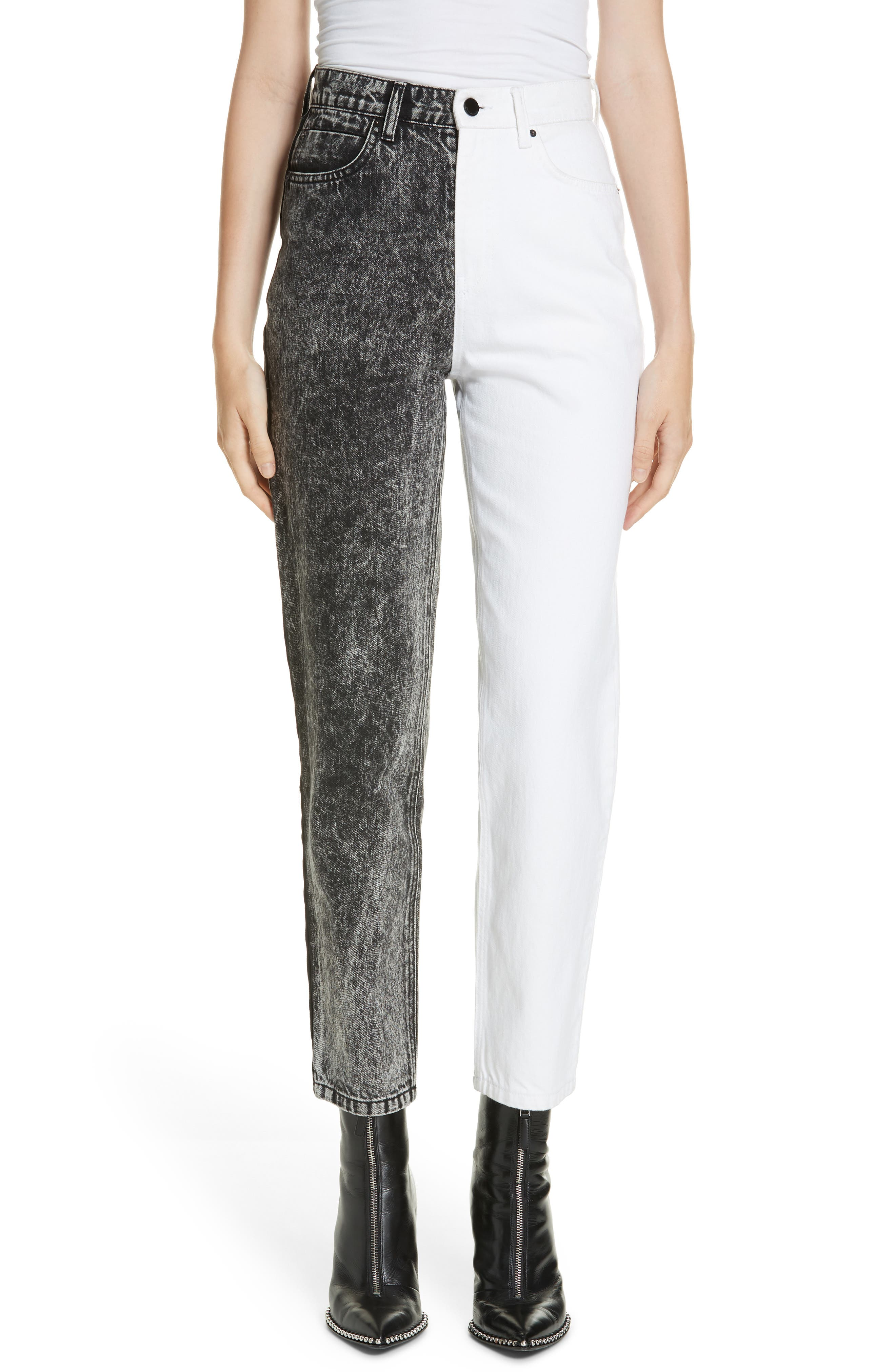 ALEXANDERWANG.T,                             Bluff Classic Bicolor Crop Jeans,                             Main thumbnail 1, color,                             MARBLED DARK GREY/ IVORY
