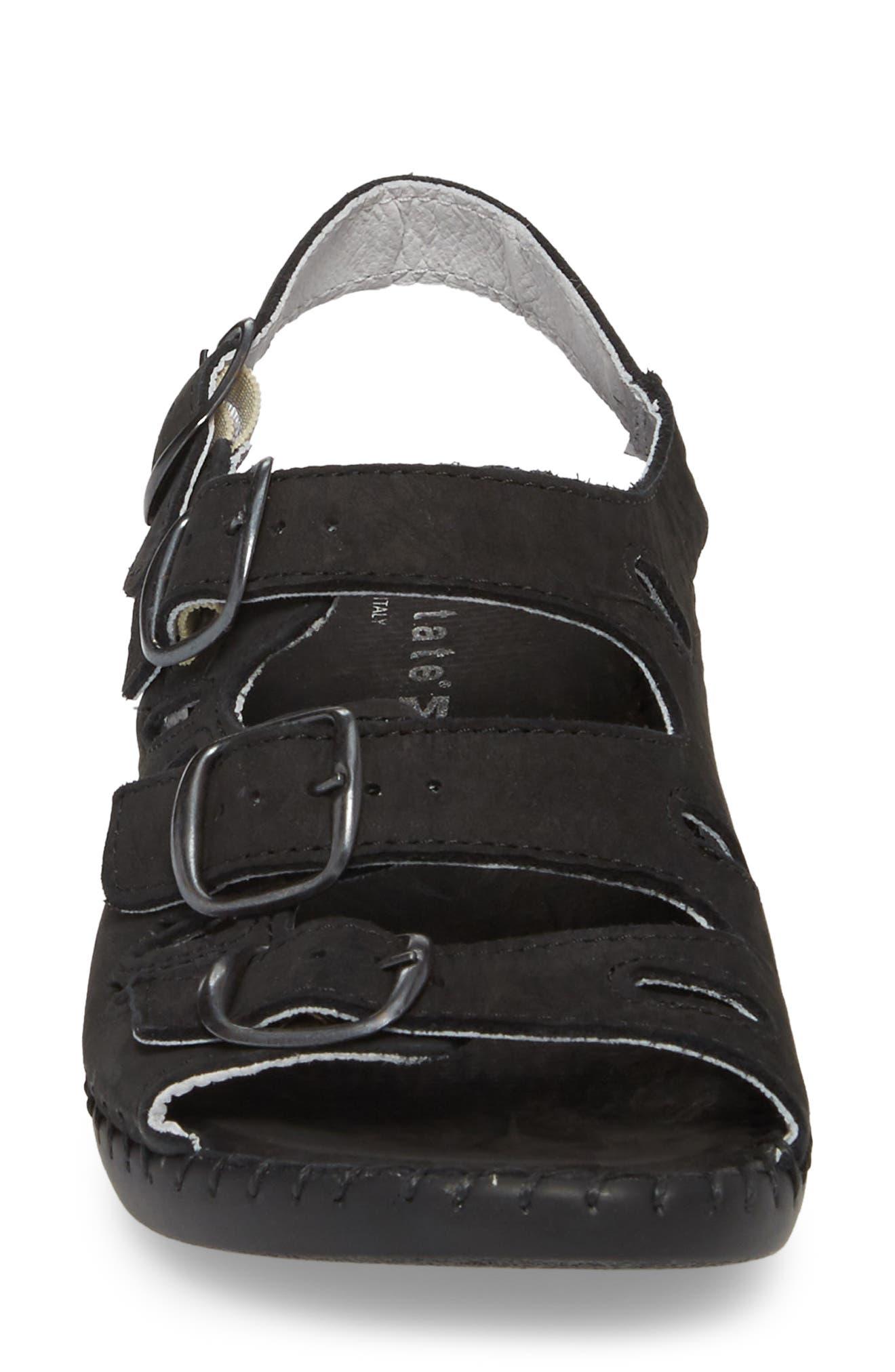 Luna Slingback Wedge Sandal,                             Alternate thumbnail 4, color,                             BLACK NUBUCK