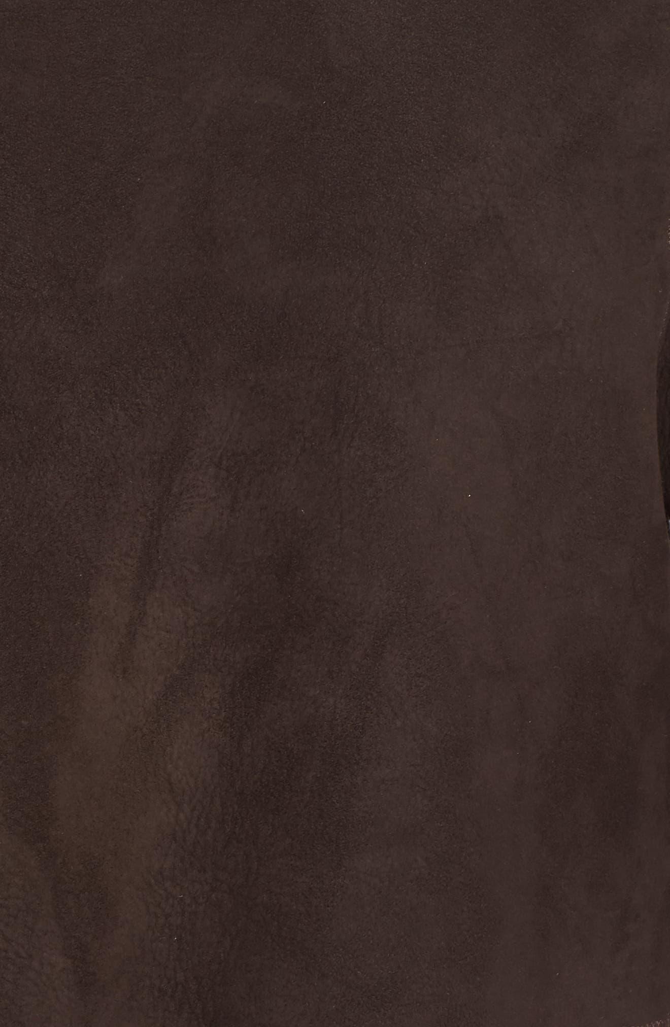 Hooded Genuine Shearling Coat,                             Alternate thumbnail 6, color,