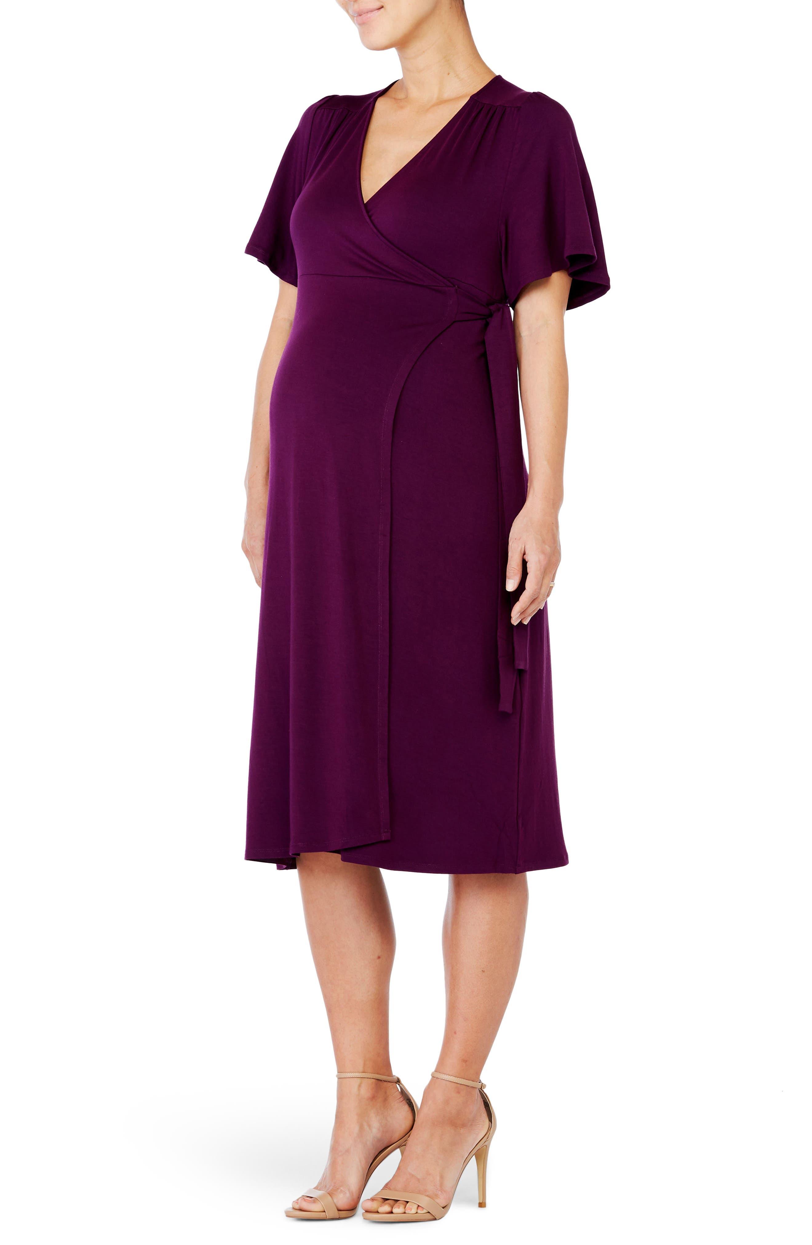 Ingrid & Isabel Flutter Sleeve Knit Wrap Maternity/nursing Dress, Purple
