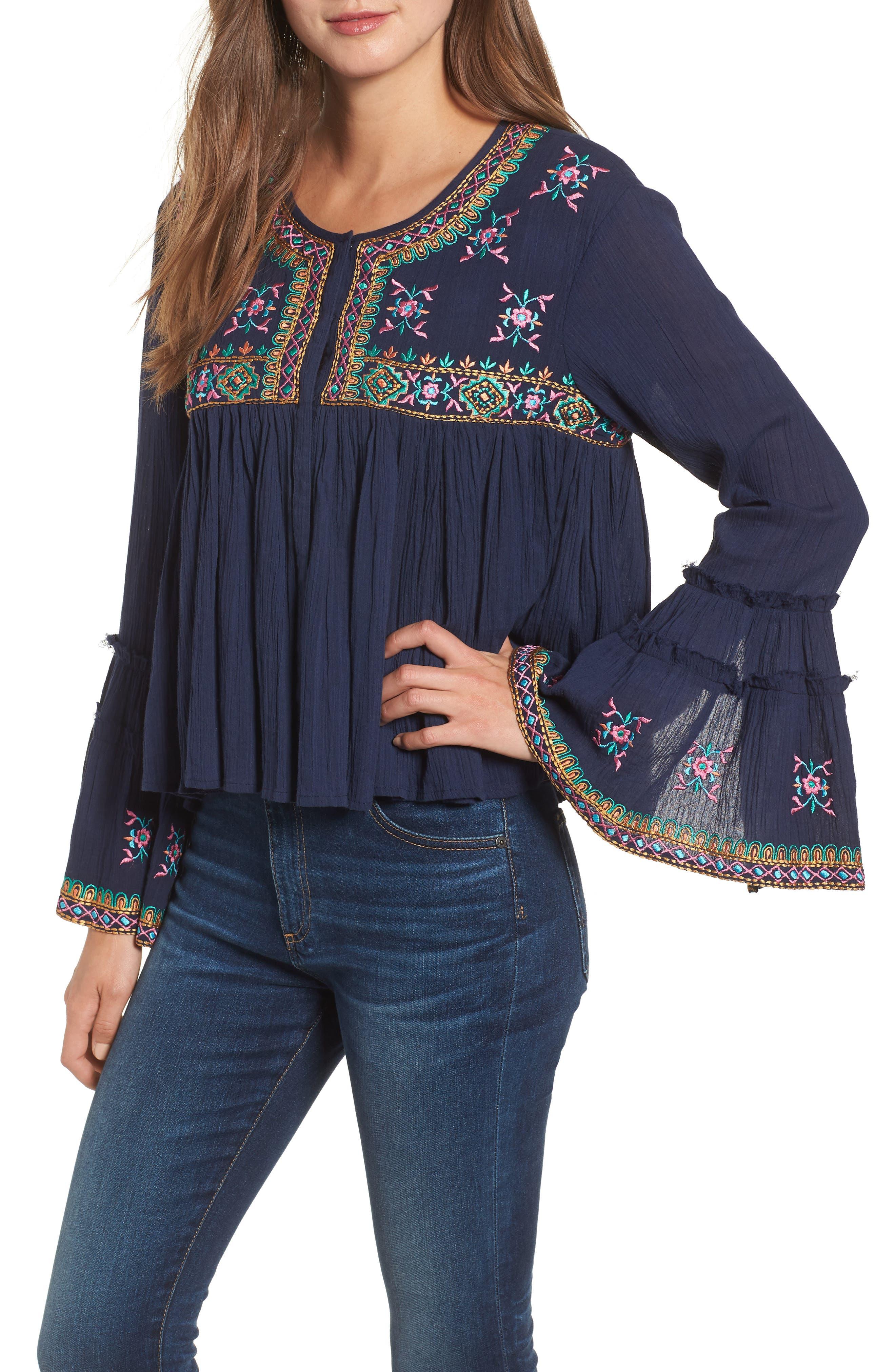 Megan Embroidered Cotton Gauze Blouse,                         Main,                         color, NAVY