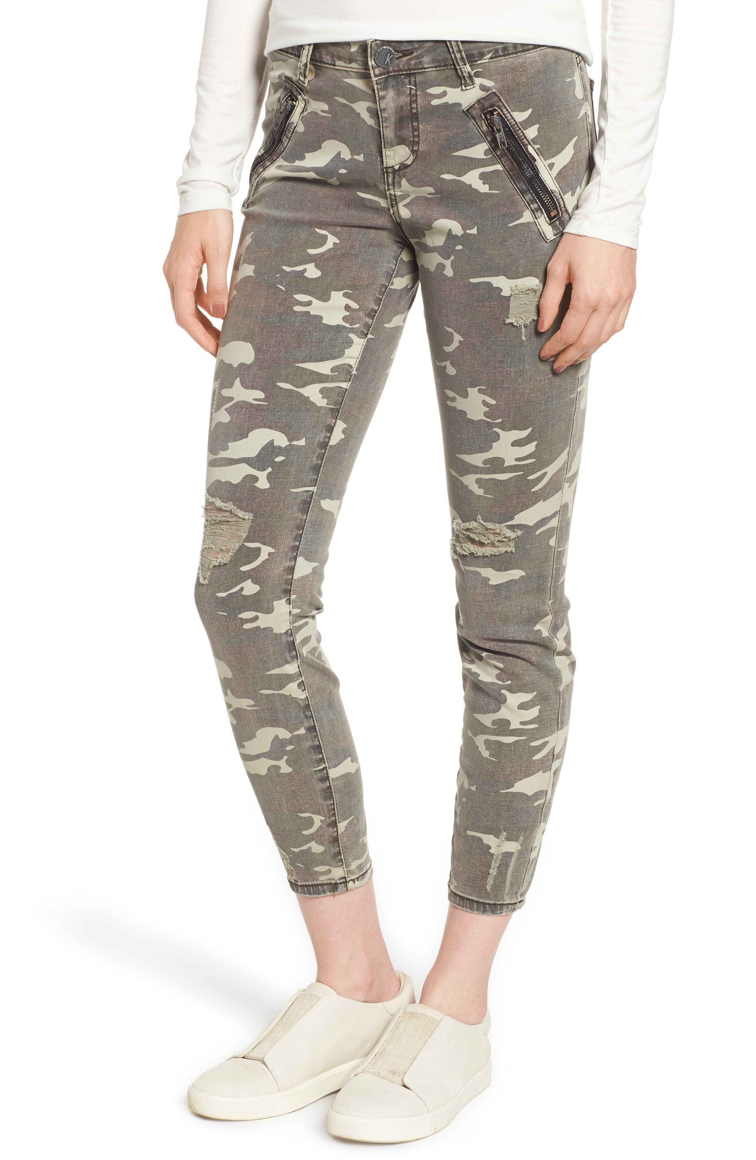 Connie Ankle Skinny Camo Jeans,                             Main thumbnail 1, color,                             OLIVE