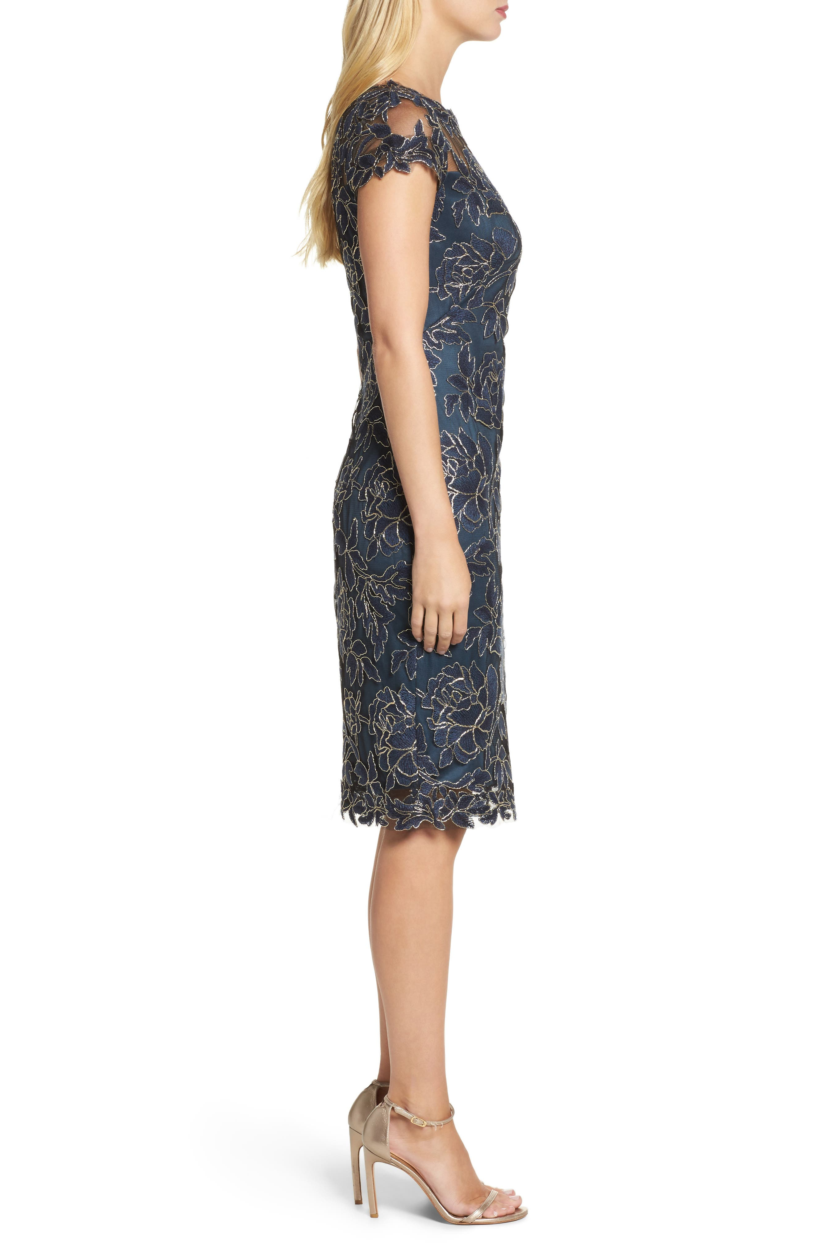 Embroidered Mesh Sheath Dress,                             Alternate thumbnail 7, color,